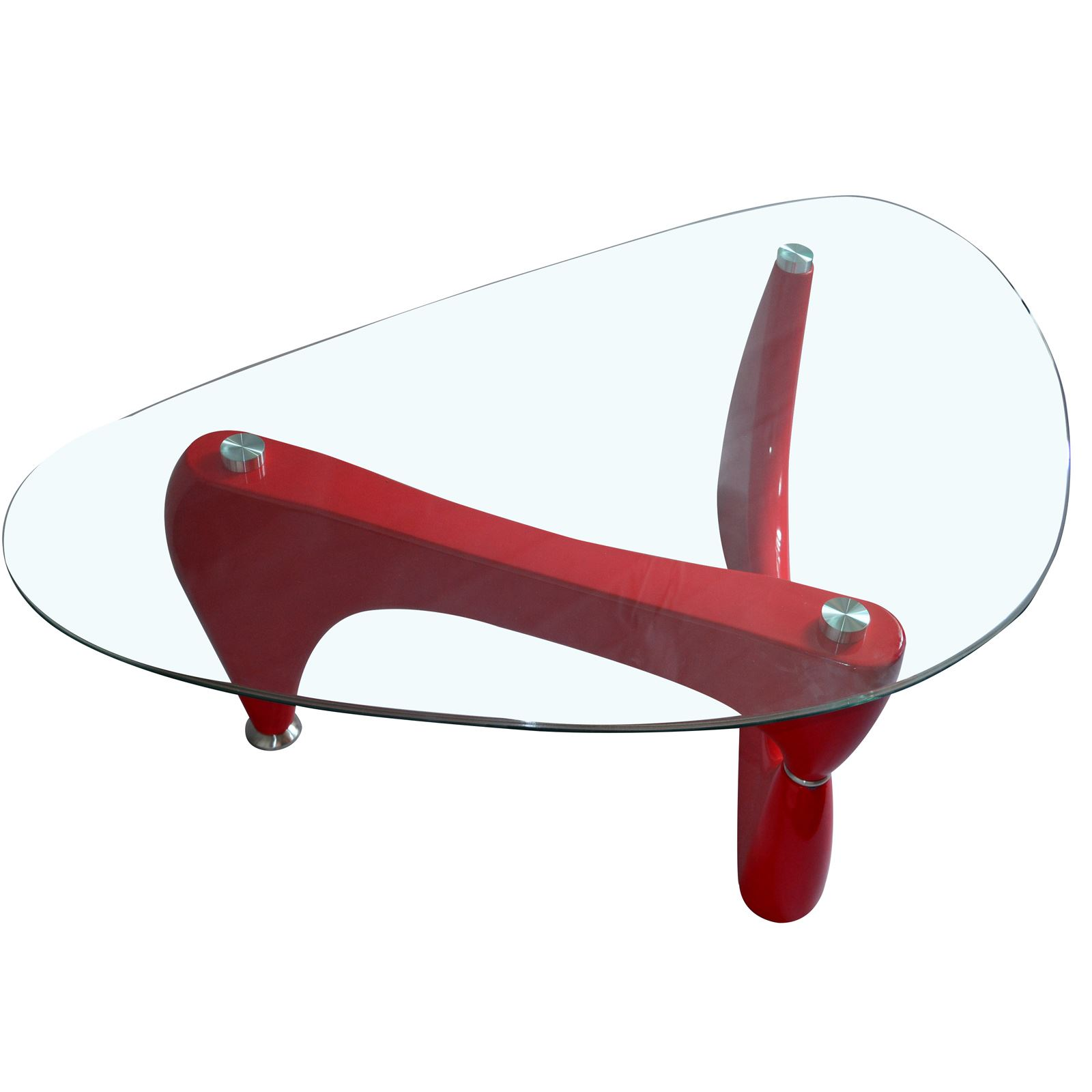 DESIGNER OVAL BLACK RED WHITE GLASS COFFEE TABLE
