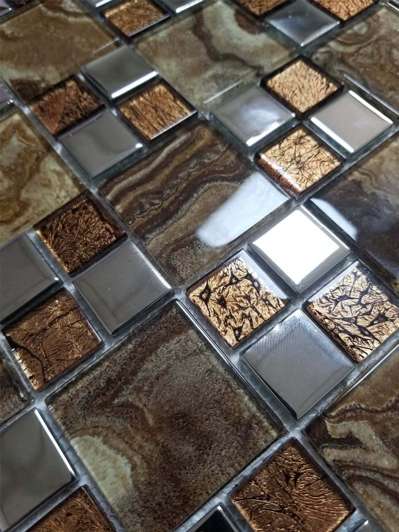 Glass Mosaic Tiles Wall Marble Steel Crystal Effect