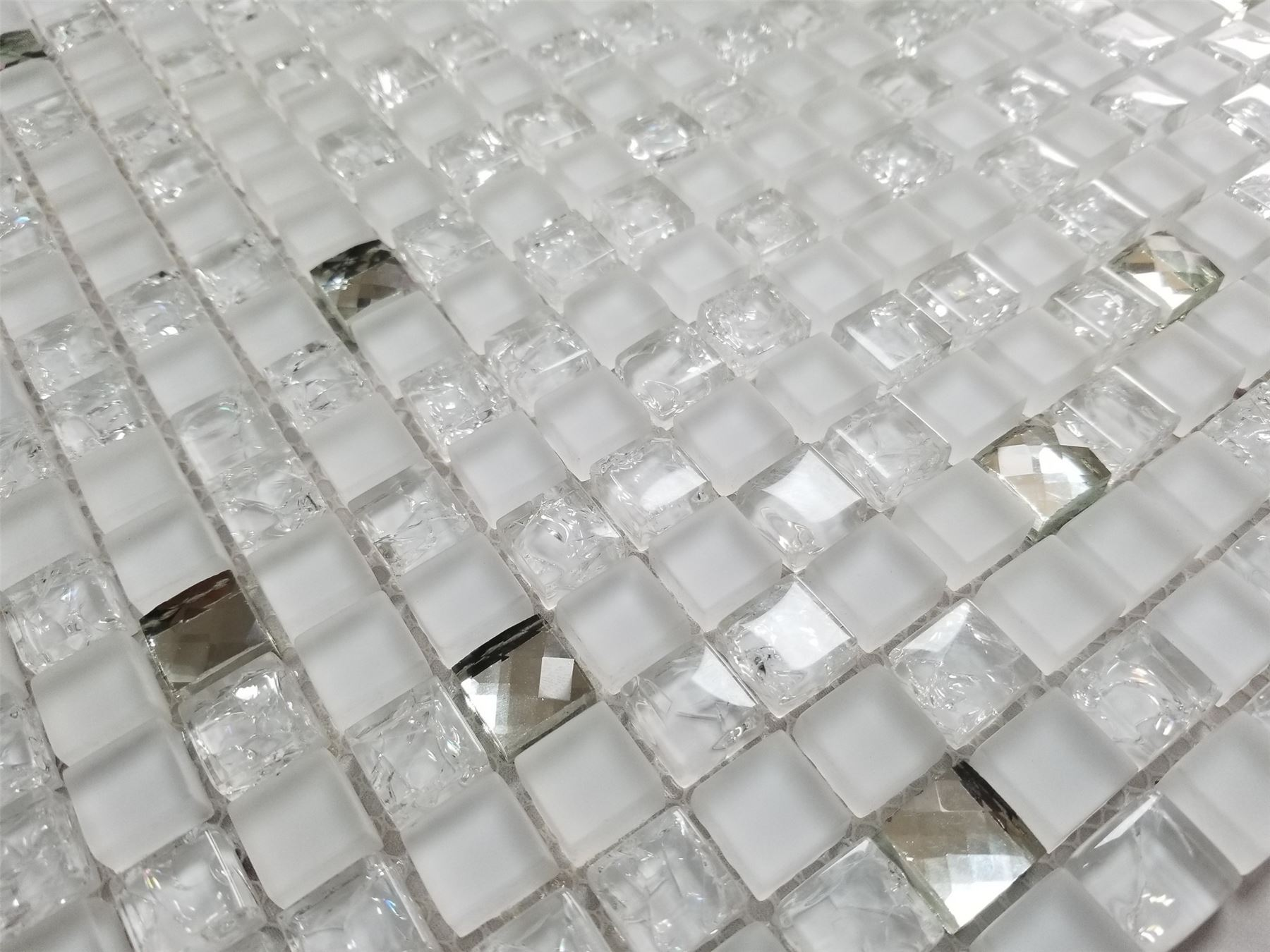 White Crystals Glass Square Mosaic Tiles Sheet Walls Floors Bathroom ...