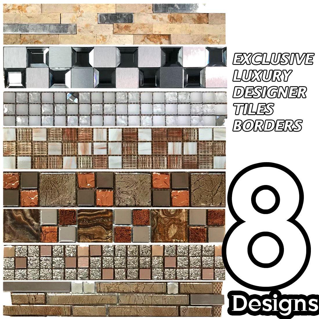 Glass Mosaic Tiles Border Self Stick Kitchen Bathroom 30cm X 5cm Border Ebay