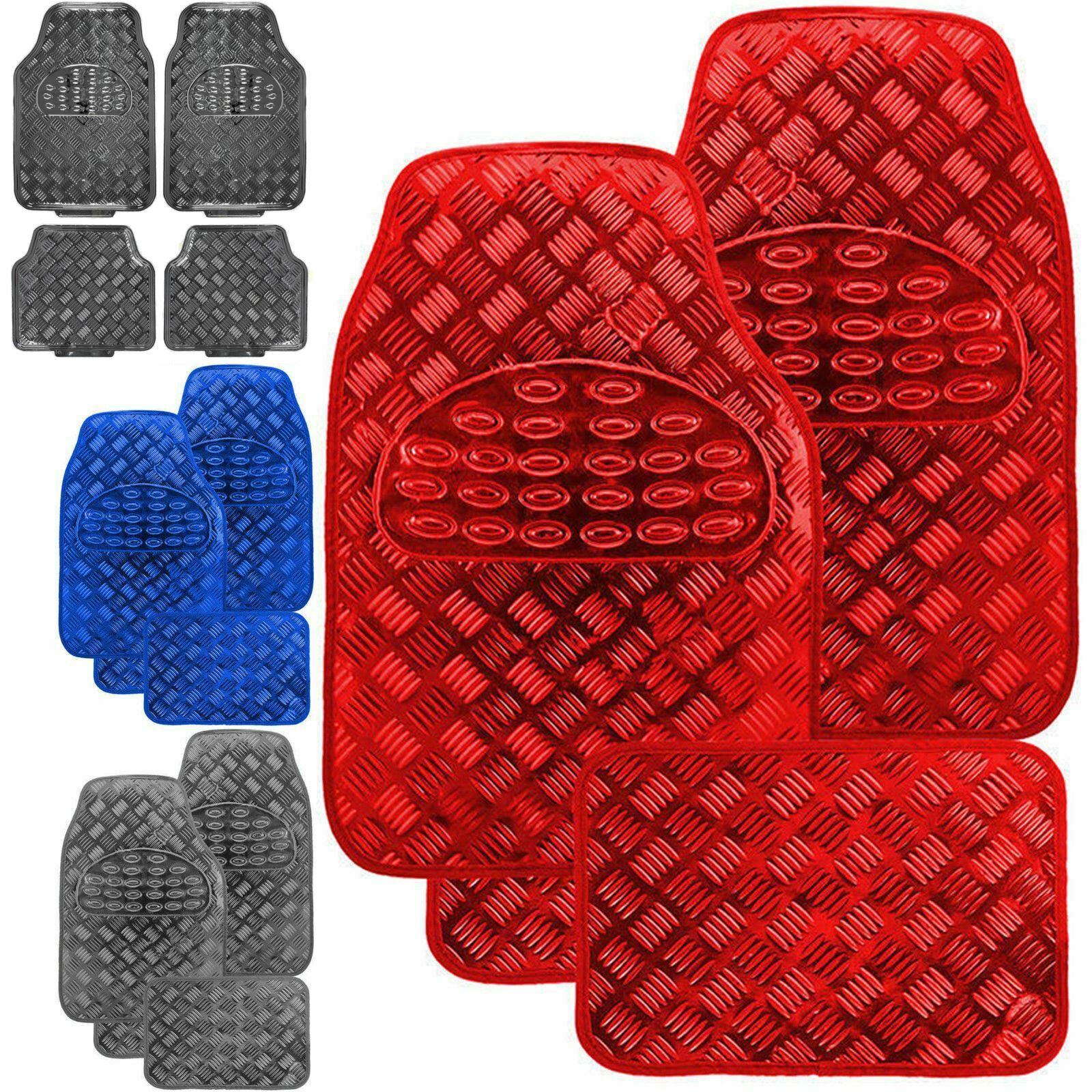 CHROME 4pc mat set metal race car styling mats Checker Heavy duty floor rubber