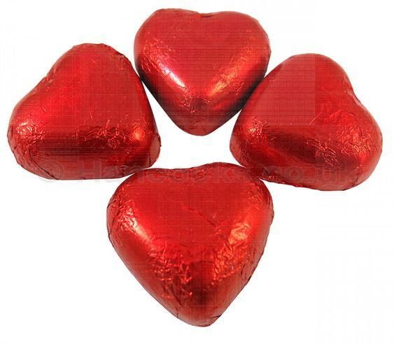 Kingsway Retro Sweets Red Foil Chocolate Hearts Valentine Wedding