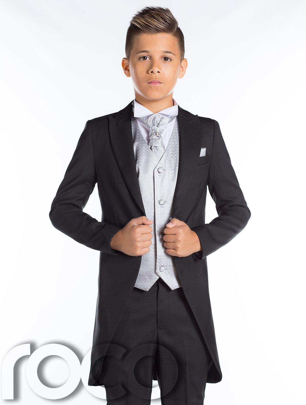 Boys Black Tail Suit, Prom Suit, Page Boy Suit, Boys Black Suit ...