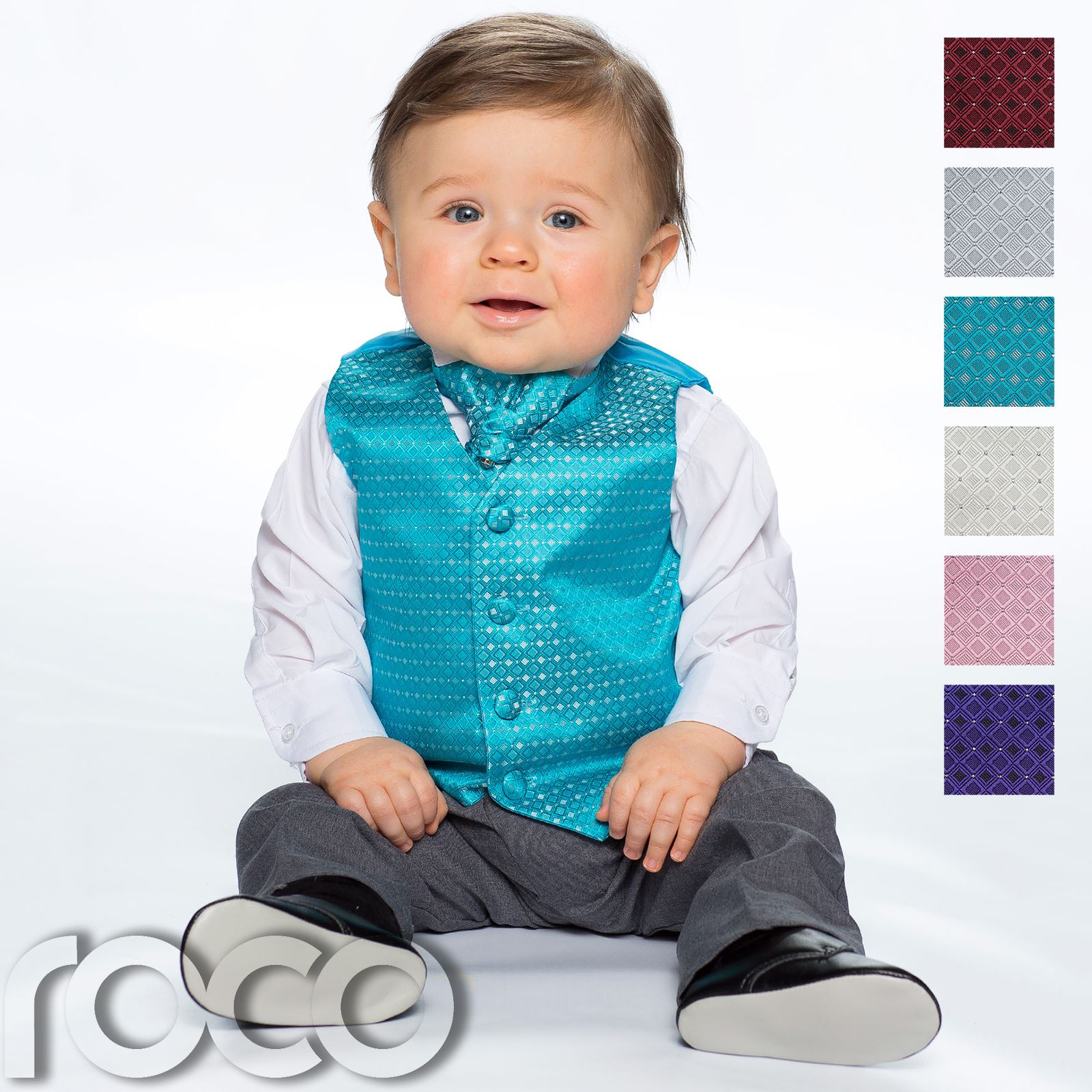 Adaptable Baby Boys Waistcoat Suit, Page Boy Suits, Grey Trousers, Diamond Pattern