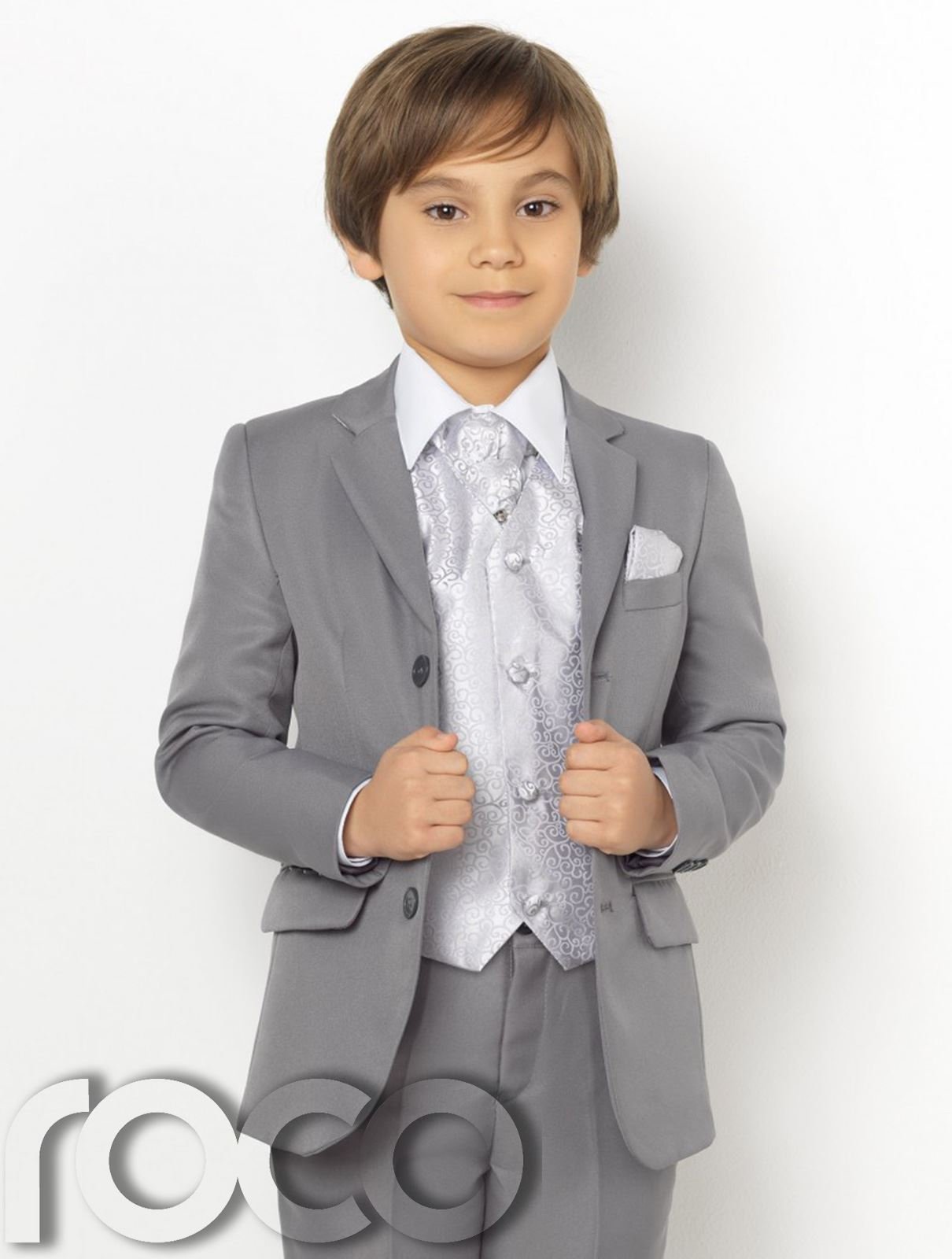 Boys Grey Suit, Page Boy Suits, Boys Prom Suits, Swirl Waistcoat Set ...