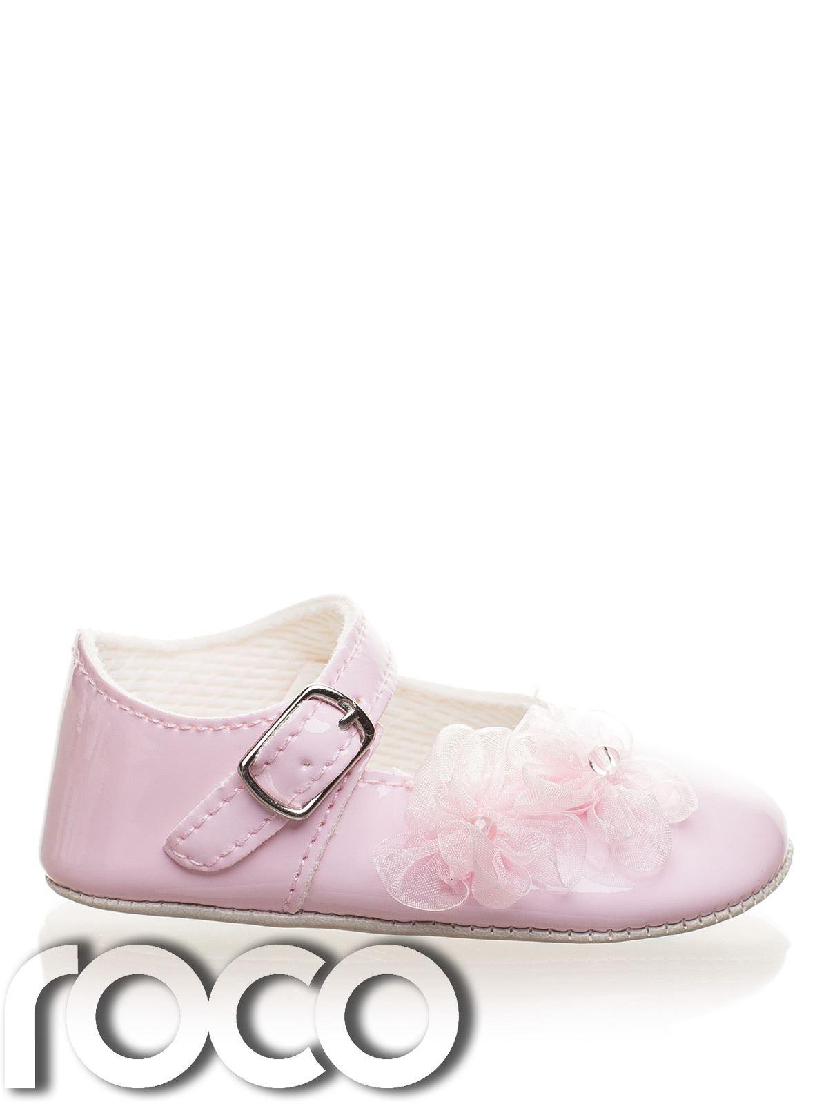 Bautizo Del Bebé Niñas Zapatos, Zapato de bebé niñas abrochado Suela Suave, flores de encaje
