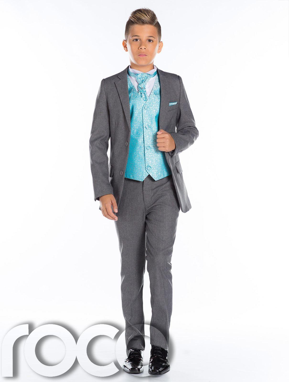 jungen hochzeitsanzug seite anzug grauer grau schmal passform krawatte ebay. Black Bedroom Furniture Sets. Home Design Ideas