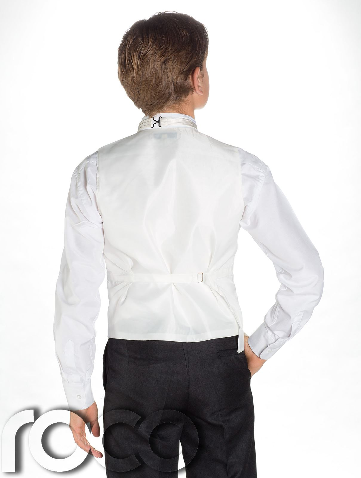 RAGAZZI Gilet a righe /& Cravatta Suit Set Con Pantaloni Neri pagina Boy vestiti
