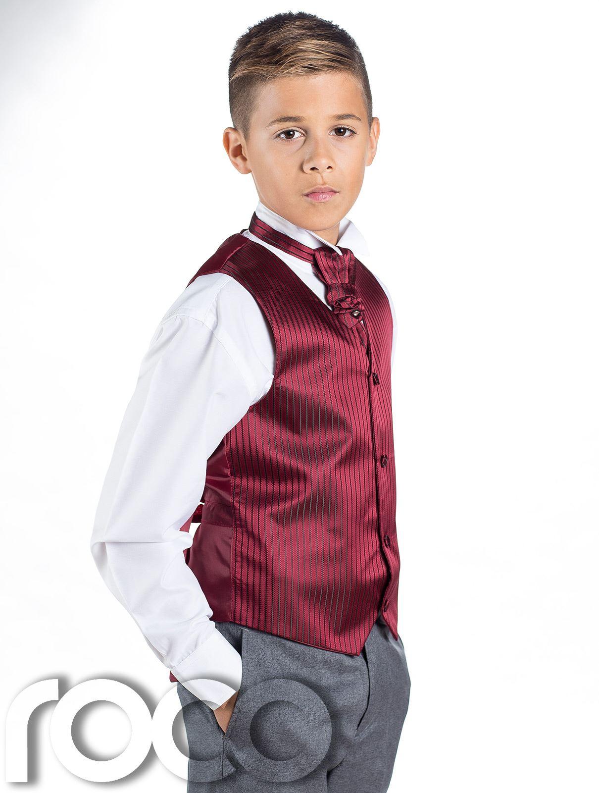 b7b6d0b82 Boys Striped Waistcoat   Cravat Suit Set With Grey Trousers