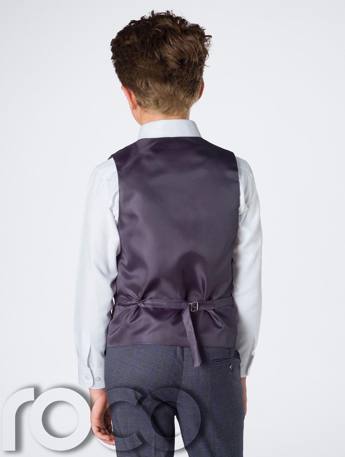 Garcons-bleu-marine-suit-garcons-gris-suit-garcons-carreaux-costume-slim-fit-costume-page-boy miniature 5