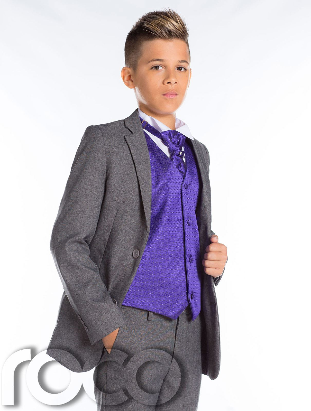 Niños Boda Traje , ajustado traje, en Gris Niño , Graduación | eBay
