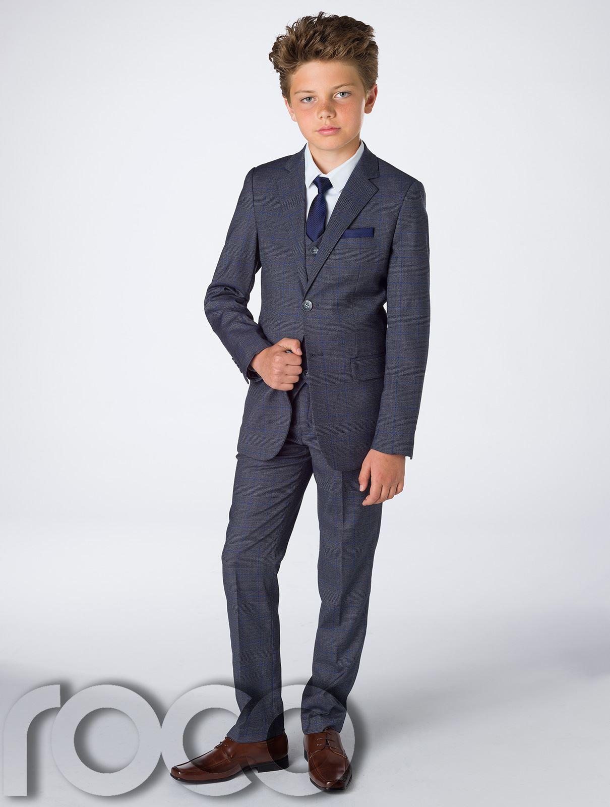 Garcons-bleu-marine-suit-garcons-gris-suit-garcons-carreaux-costume-slim-fit-costume-page-boy miniature 3