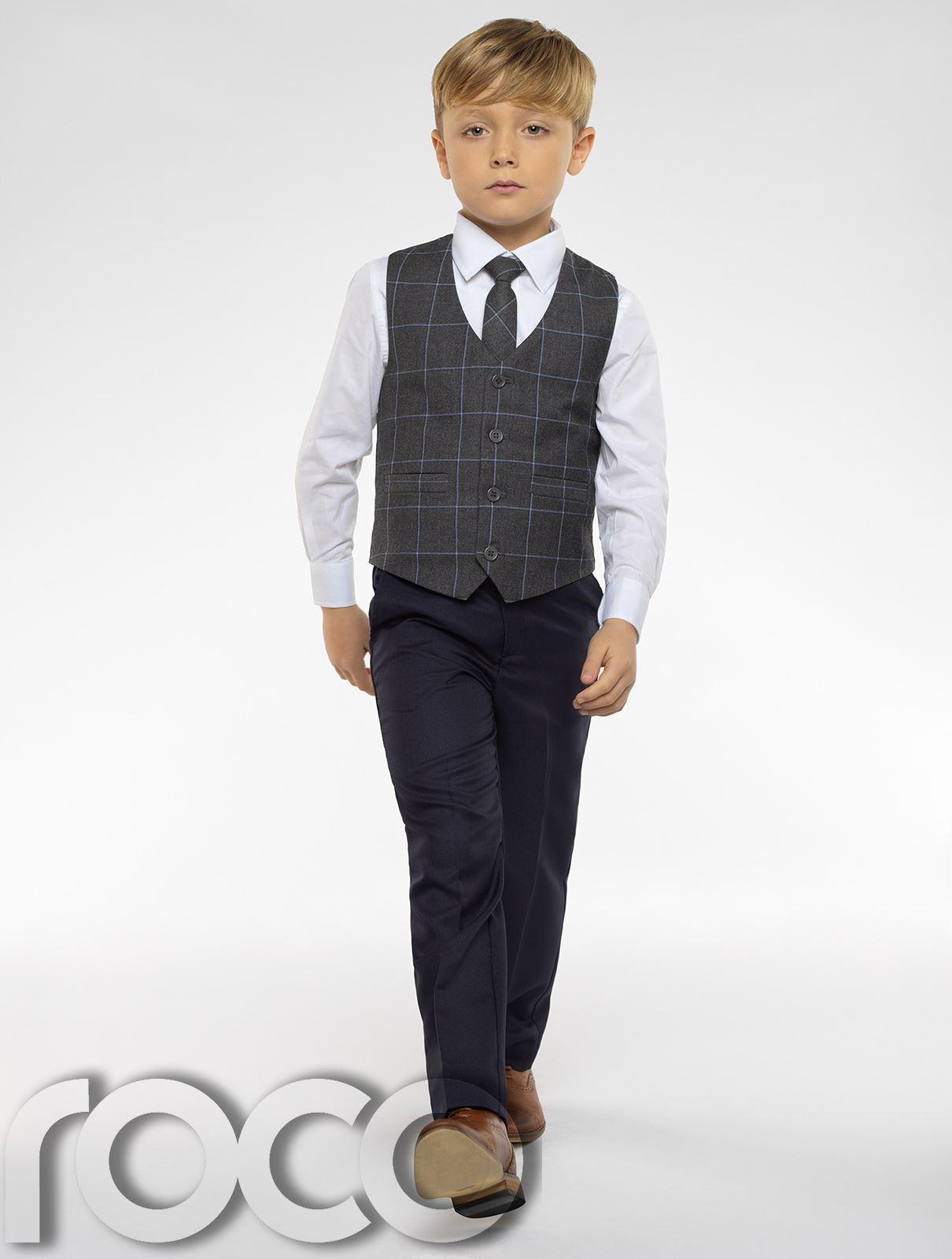 bb0399b972f82a Boys Waistcoat Suit, Check Waistcoat, Page Boy Suits, Boys Grey Suit ...