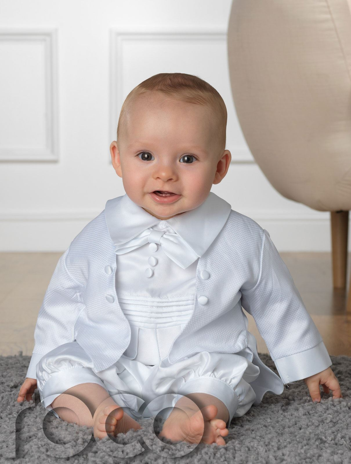 Baby Boys Christening Outfit, White Romper Suit, White ...
