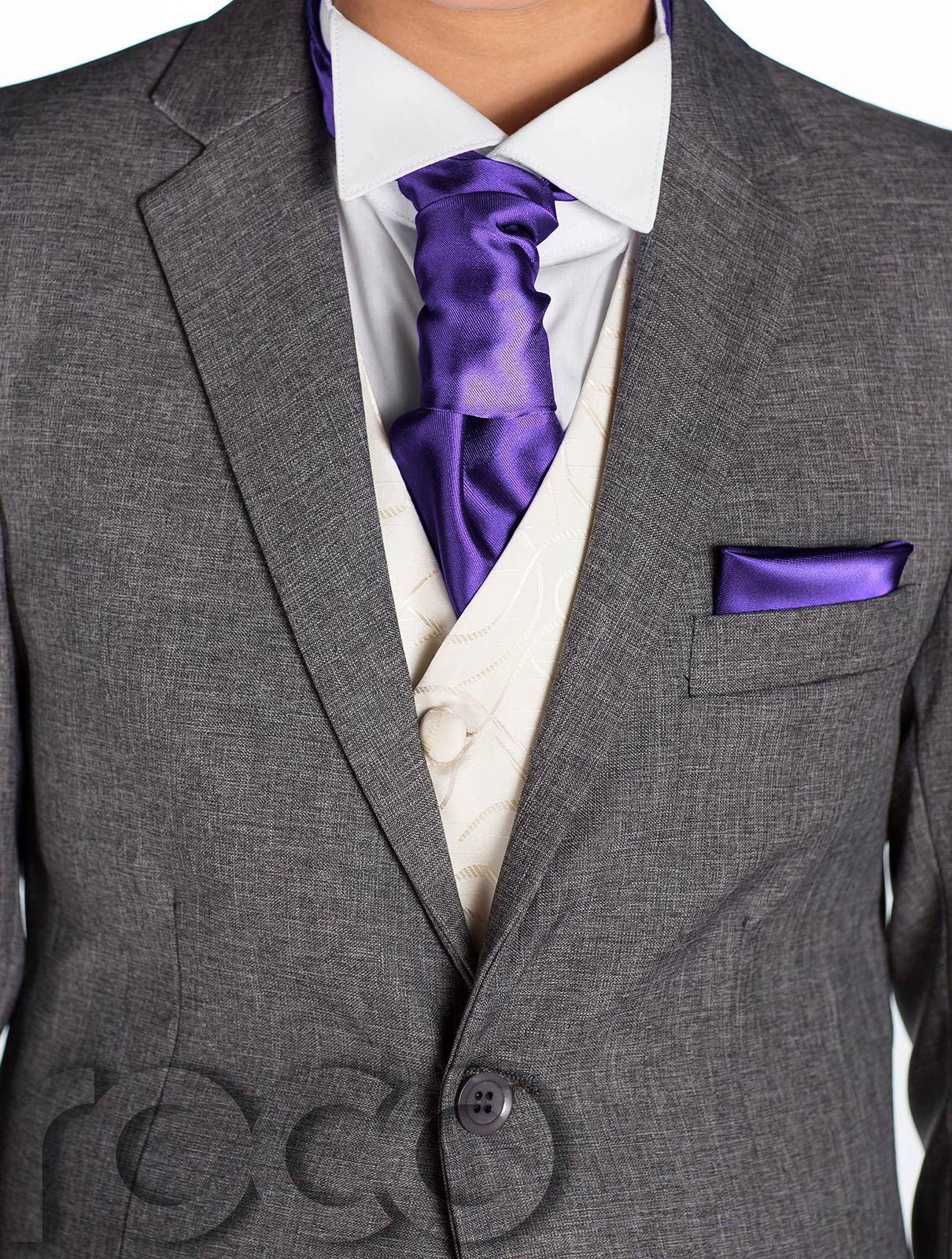 Boys Grey Suit, Boys Cravat & Pocket Square, Page Boy Suits, Boys ...