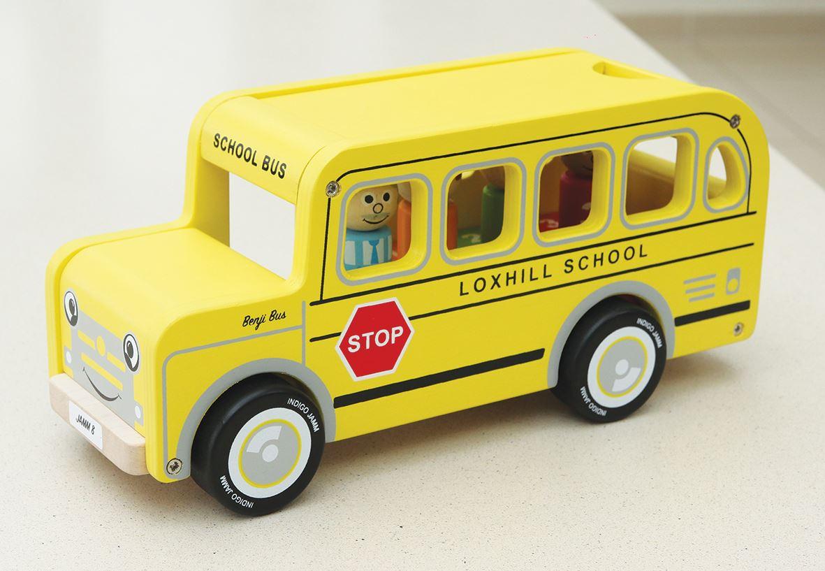 Indigo Jamm Benji Bus, Classic Wooden Toy Yellow American School Bus Passengers