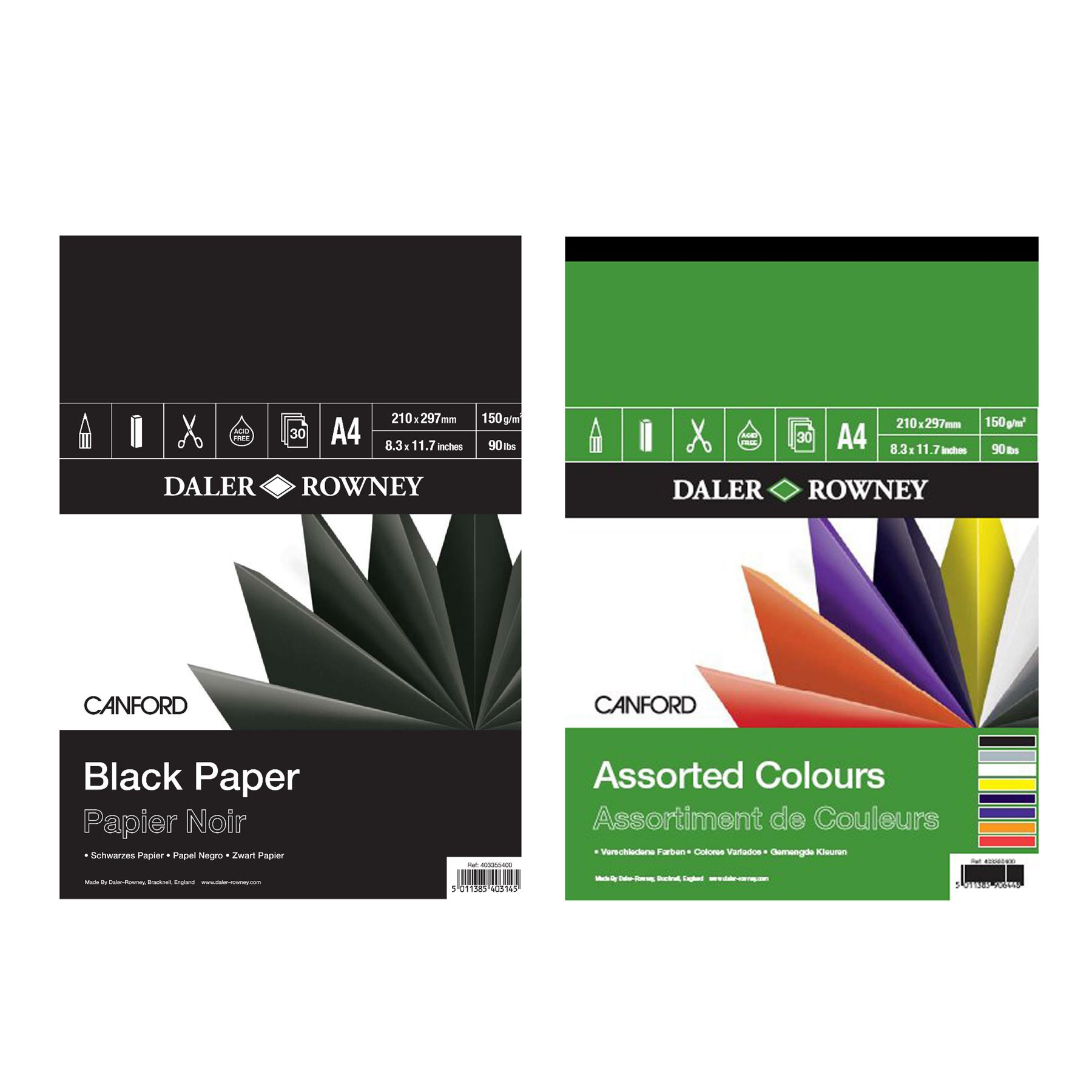 Black 150gsm Paper Daler Rowney Canford Pad A4