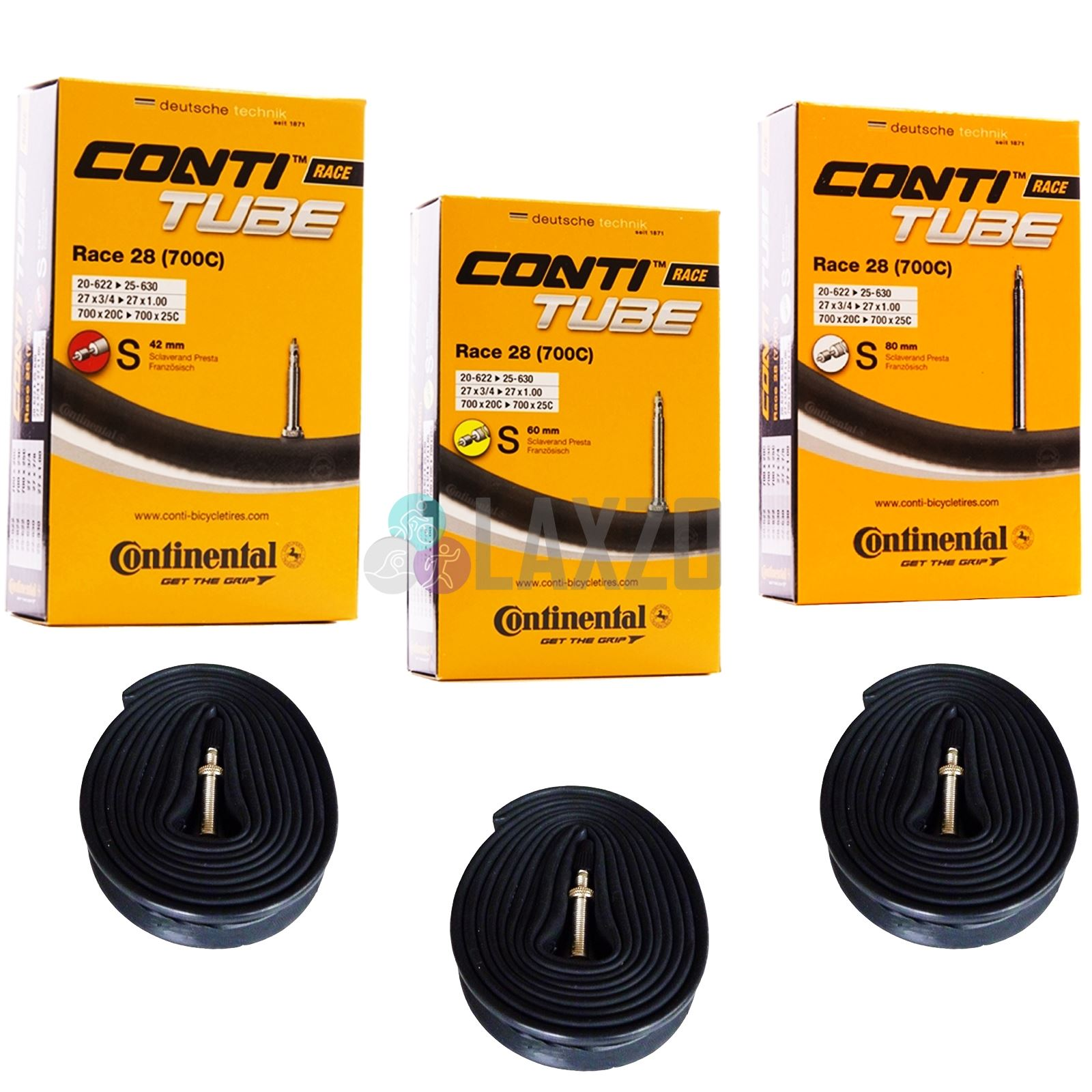 Boxed 5 x Continental Race 28 700c 80mm Road Inner Tubes Presta 20-25