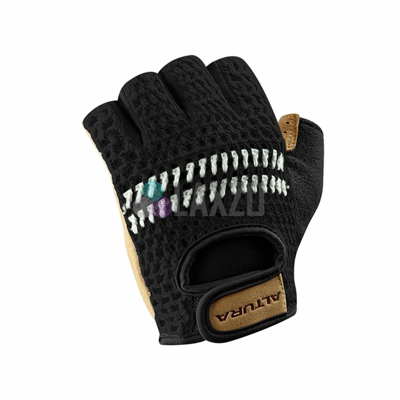 Push Black//Tan Crochet Classic Fingerless Cycling Bike Gloves Med Lrg XLrg Sm XS