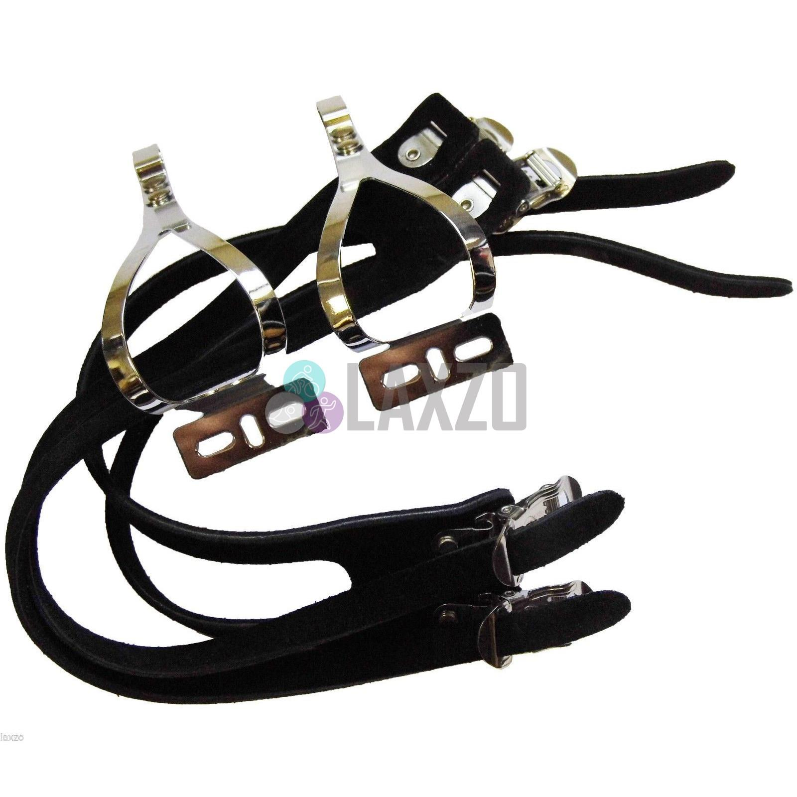 New Atozi Bicycle Pedal Steel Toe Clip and Double Leather Straps Black