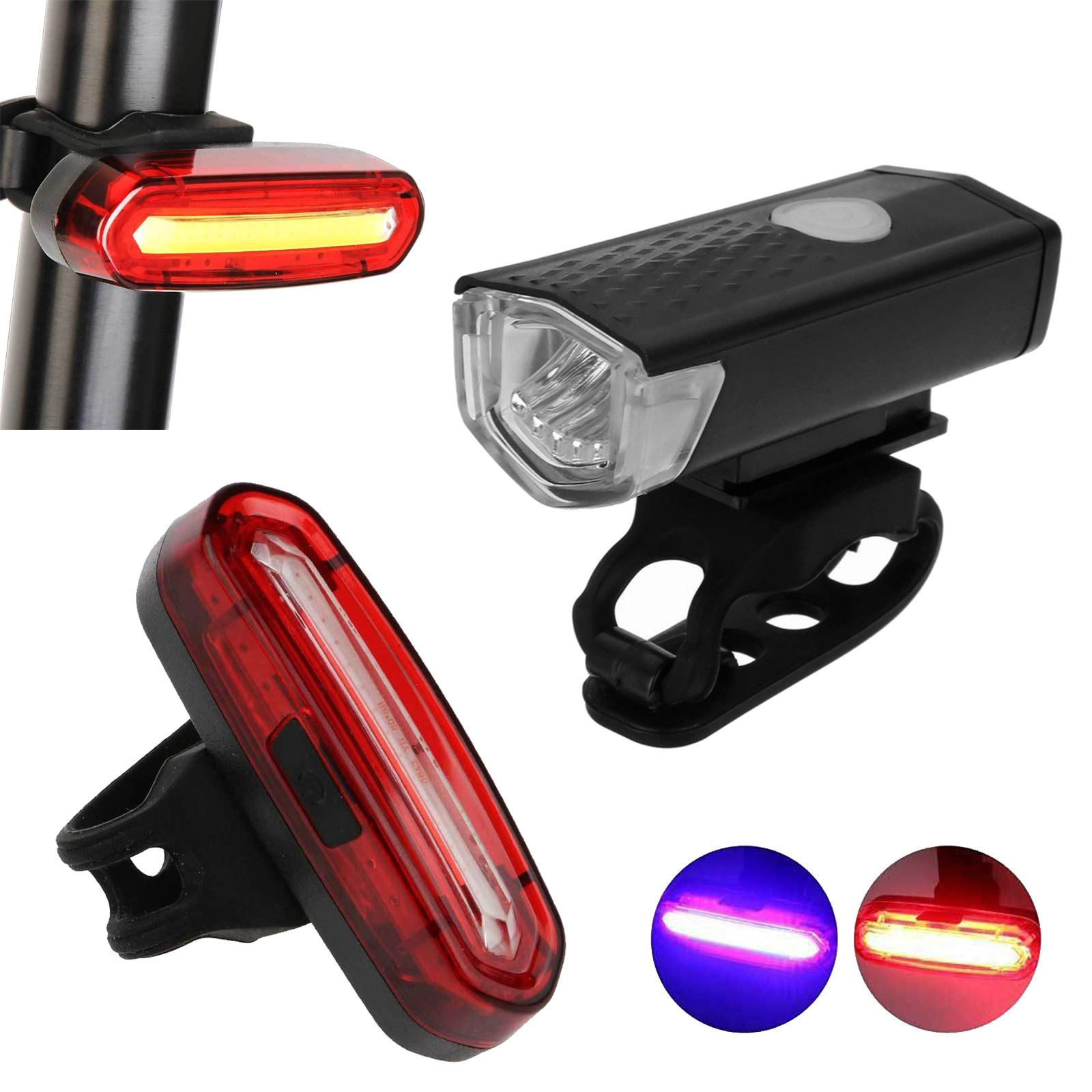 USB Rechargeable LED Bright Bike Front Headlight and Rear Tail Light Set