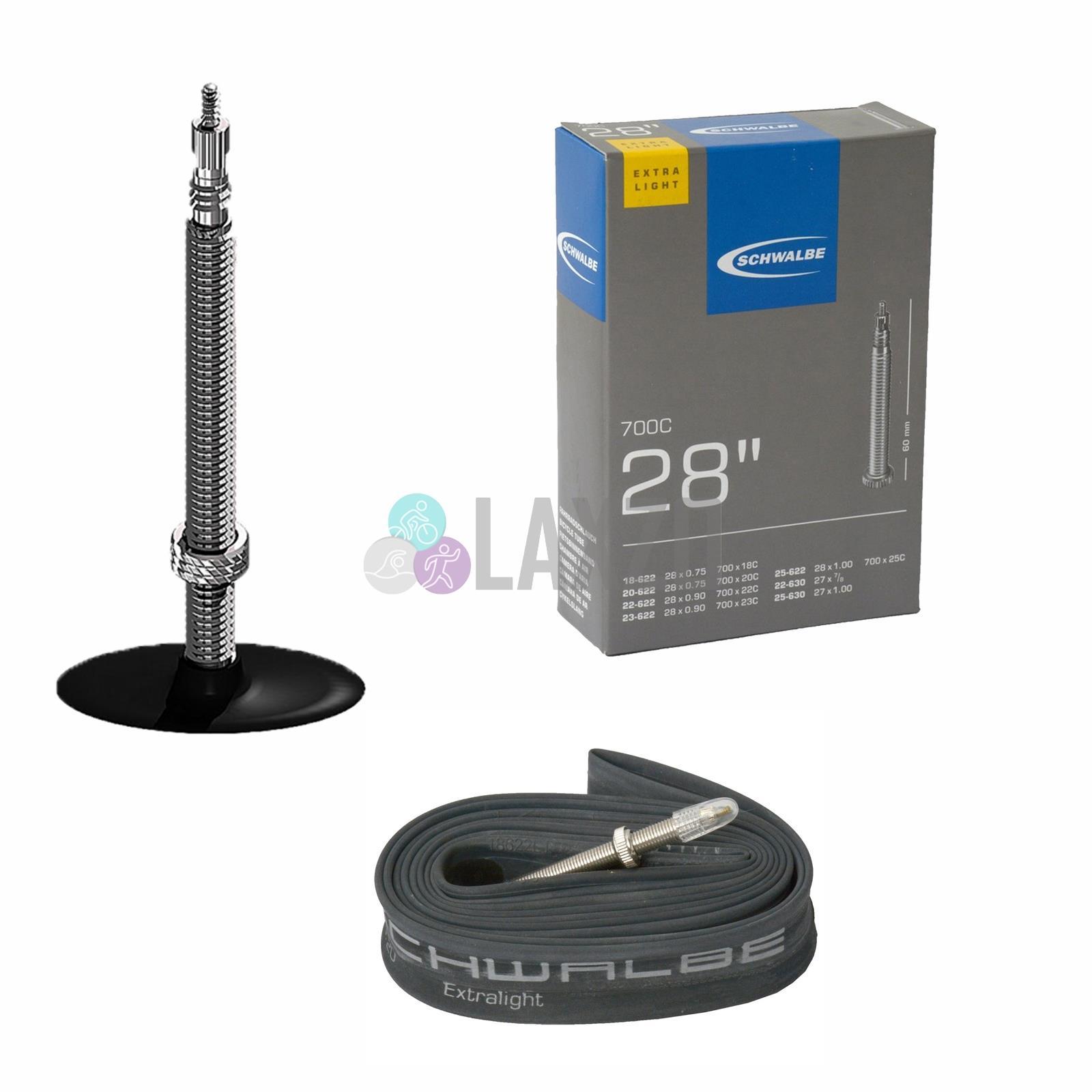 2 x Schwalbe SV20 long 60mm L//weight Presta Valve 700x18-25mm Inner Tubes