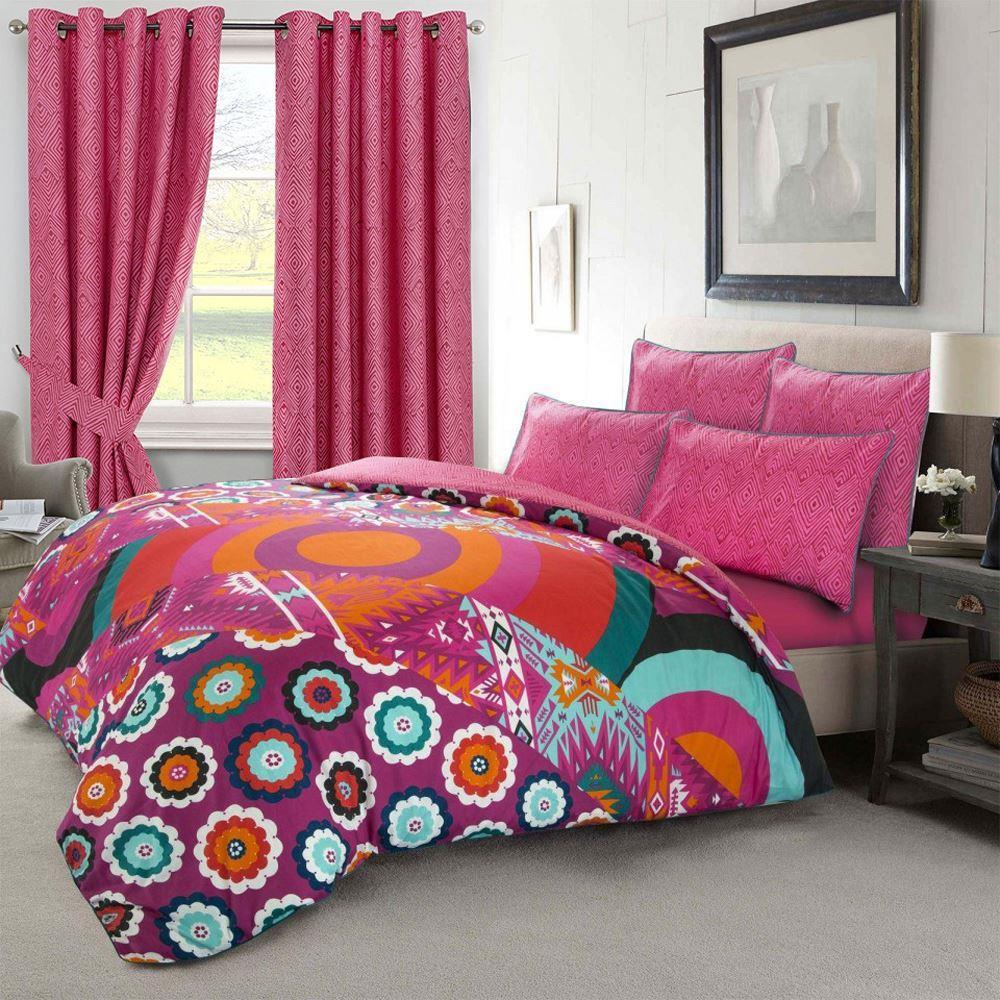 Ropa-de-cama-estampado-floral-bohemio-conjunto-de-edredon-de-funda-nordica-individual-Doble-King miniatura 4
