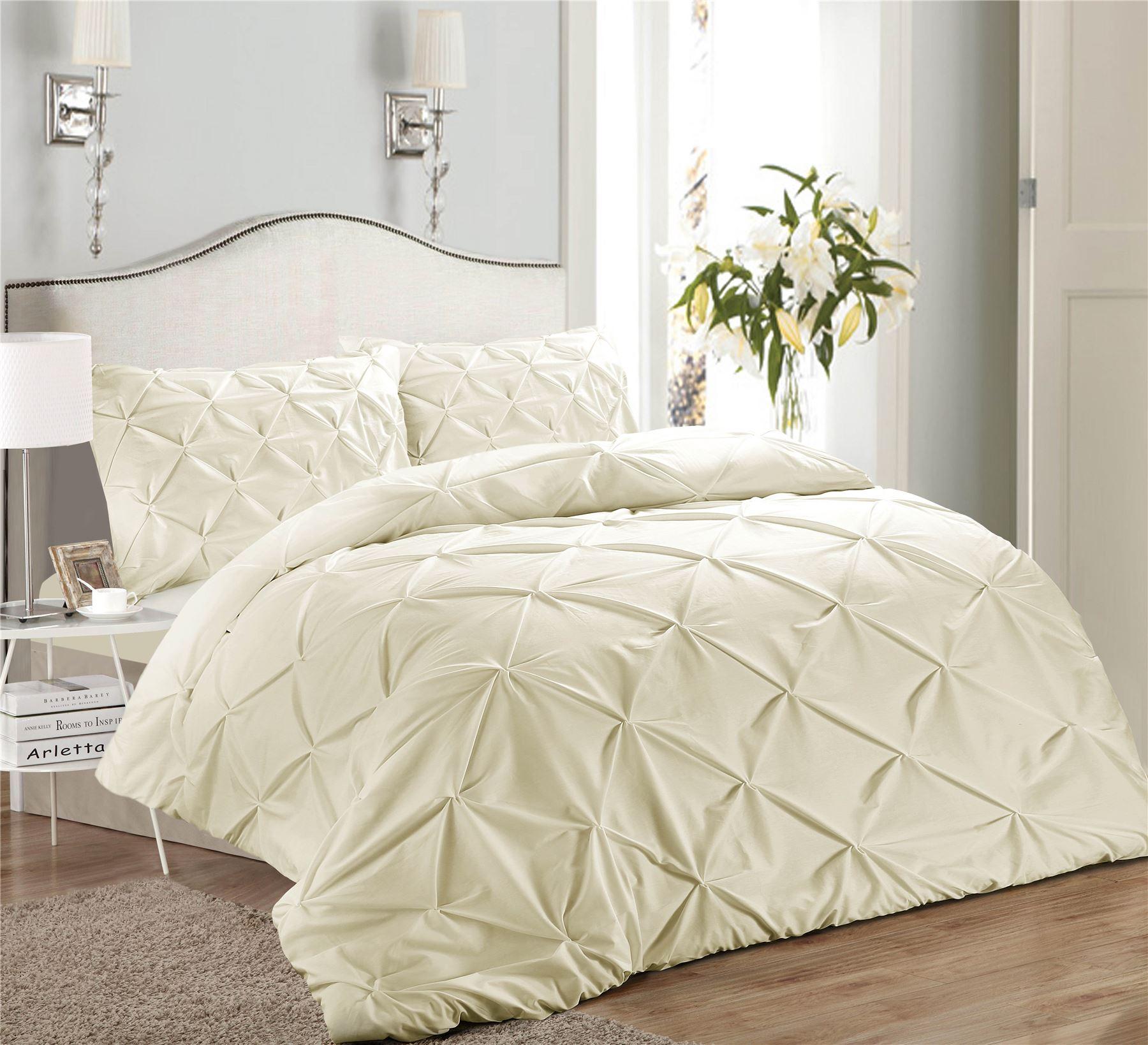 Luxury-Pure-100-Cotton-200-Thread-Pinch-Pleat-Pintuck-Puckering-Duvet-Cover-Set thumbnail 10
