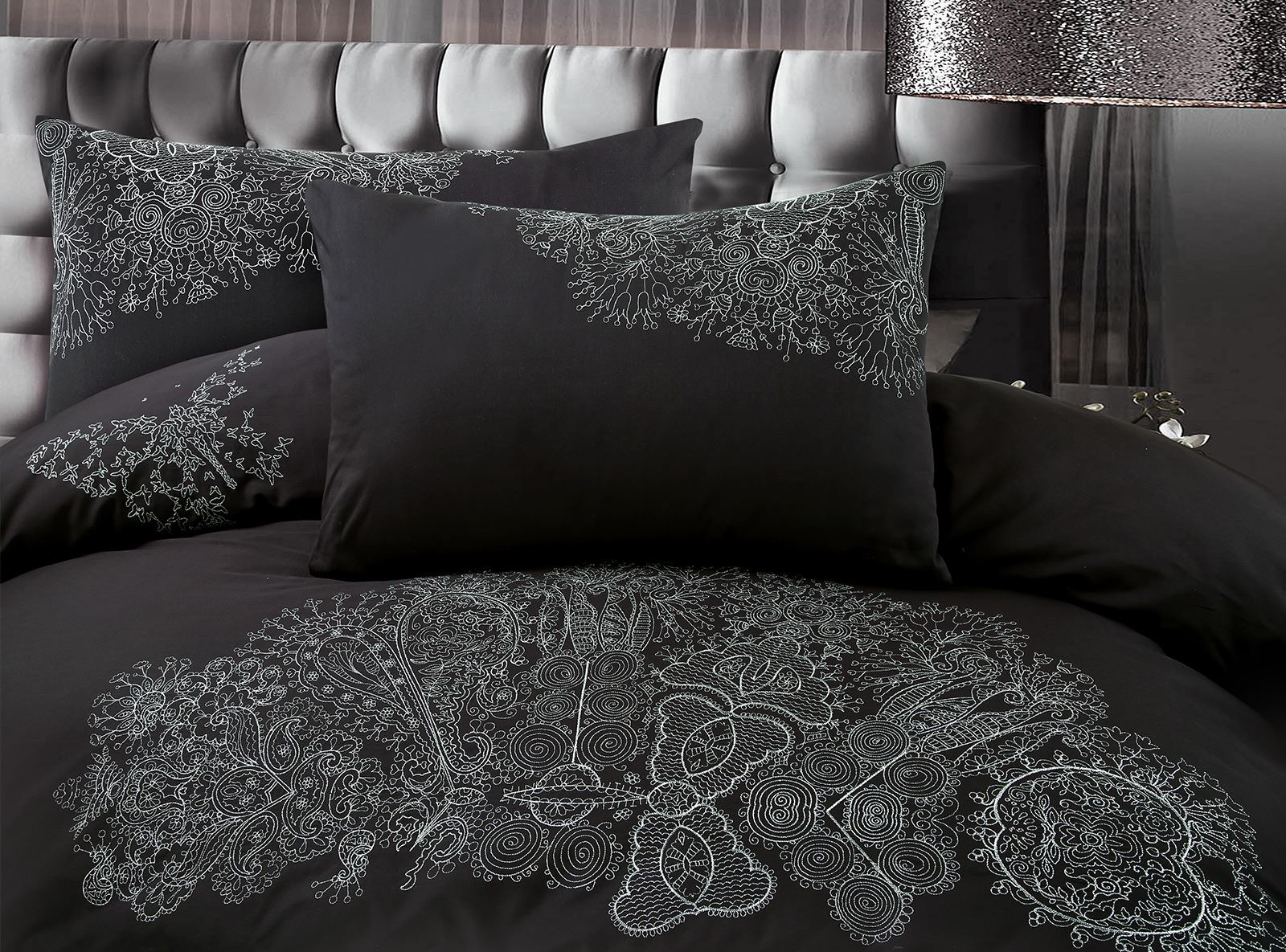 Chloe-Luxury-100-Cotton-Silver-Embroidery-Embroidered-Duvet-Cover-Bedding-Set thumbnail 5