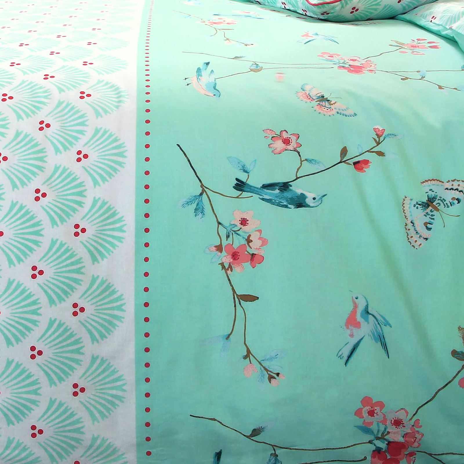 Sophie Birds Floral 100% Cotton Mint Quilt Duvet Cover Reversible Bedding Set