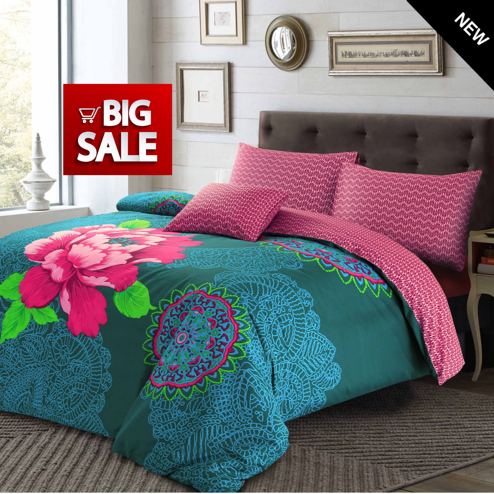NEW Bohemian Moroccan Floral Janice Quilt Duvet Covers SALE Luxury