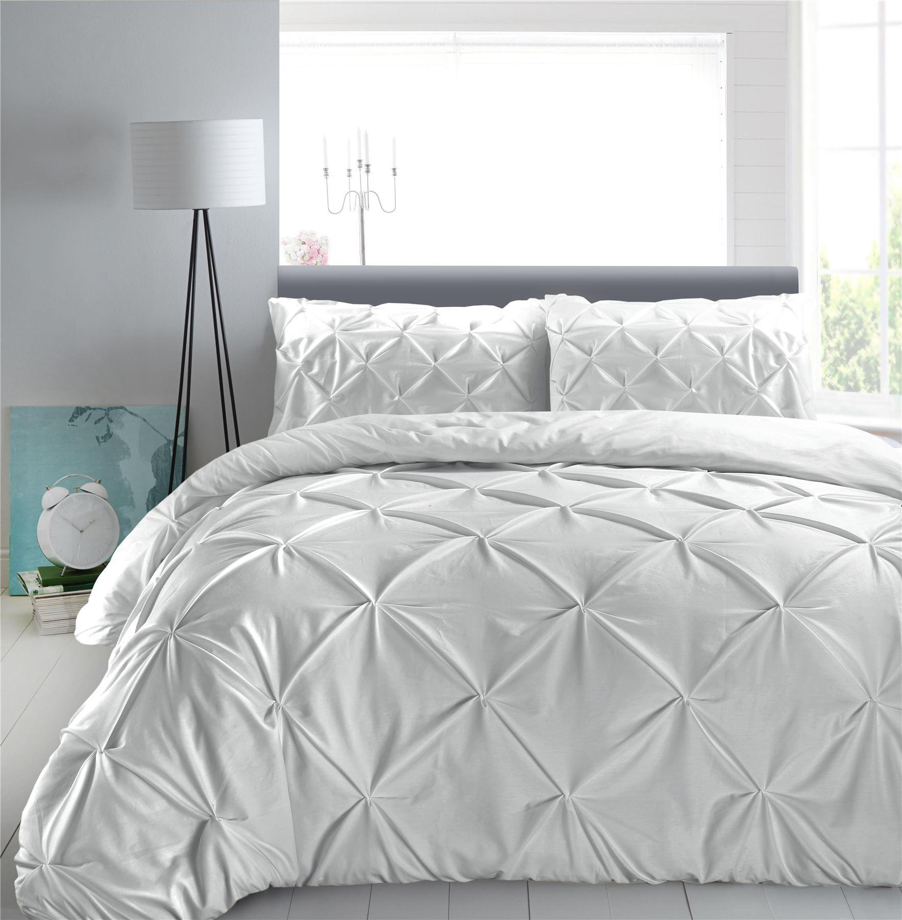 Luxury-Pure-100-Cotton-200-Thread-Pinch-Pleat-Pintuck-Puckering-Duvet-Cover-Set thumbnail 47