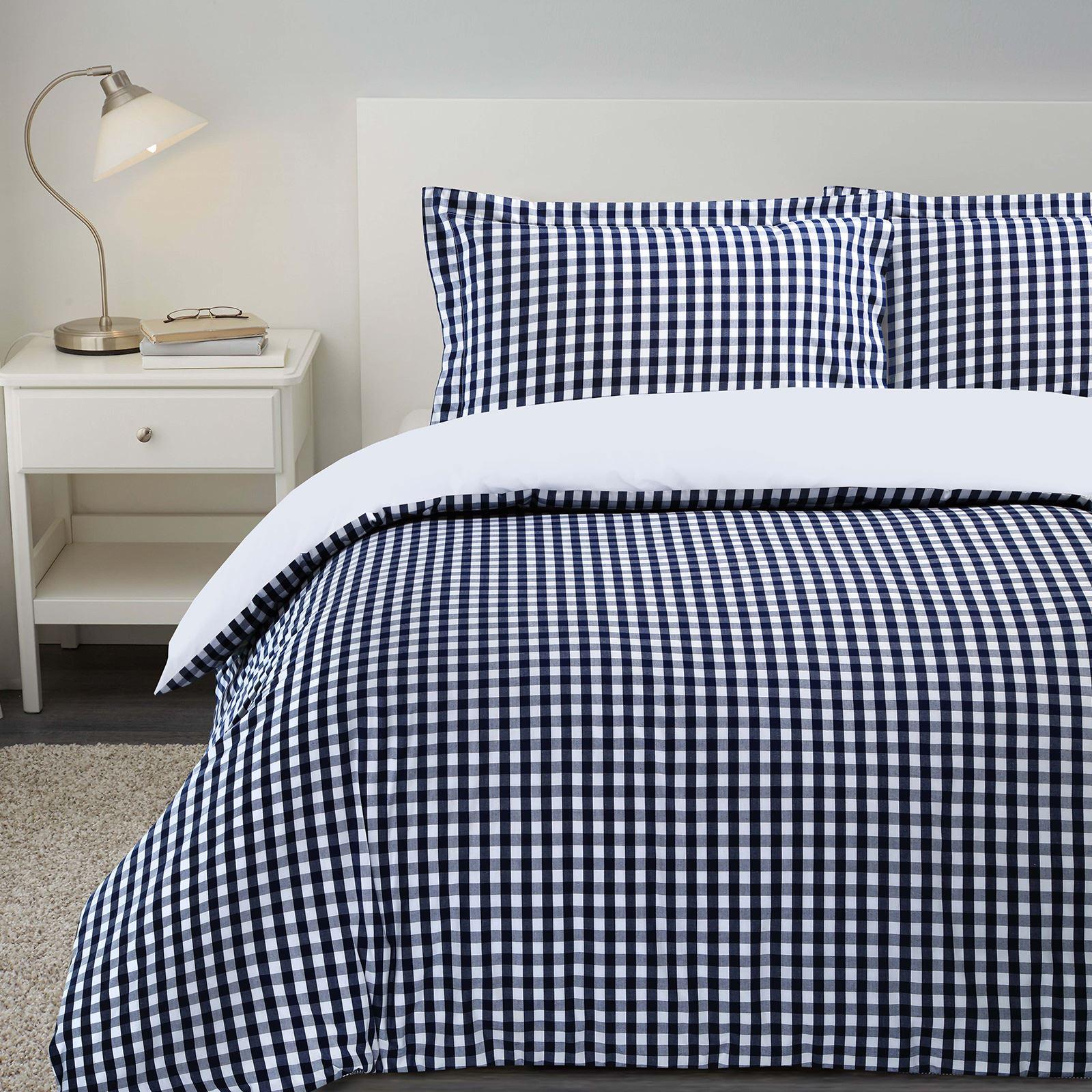 De-Lujo-Gingham-Check-Reversible-100-algodon-T200-conjunto-de-edredon-cubierta-y-fundas-de-almohada miniatura 4