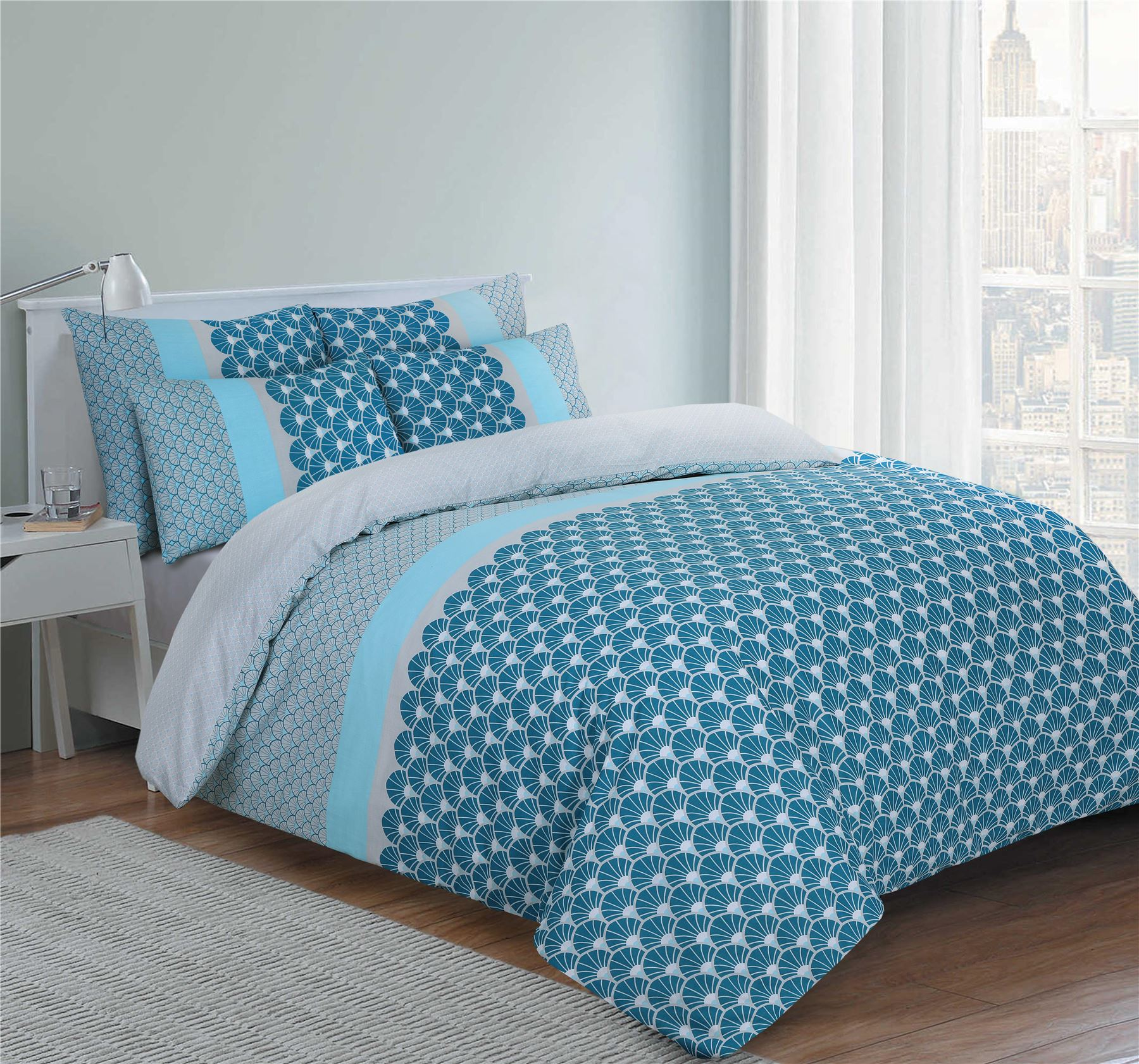 Nimsay-100-Cotton-Duvet-Quilt-Cover-Bedding-Set-Single-Double-Super-King-Sizes thumbnail 3