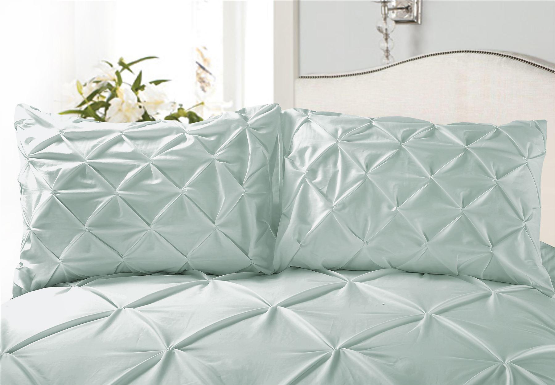 Luxury-Pure-100-Cotton-200-Thread-Pinch-Pleat-Pintuck-Puckering-Duvet-Cover-Set thumbnail 14