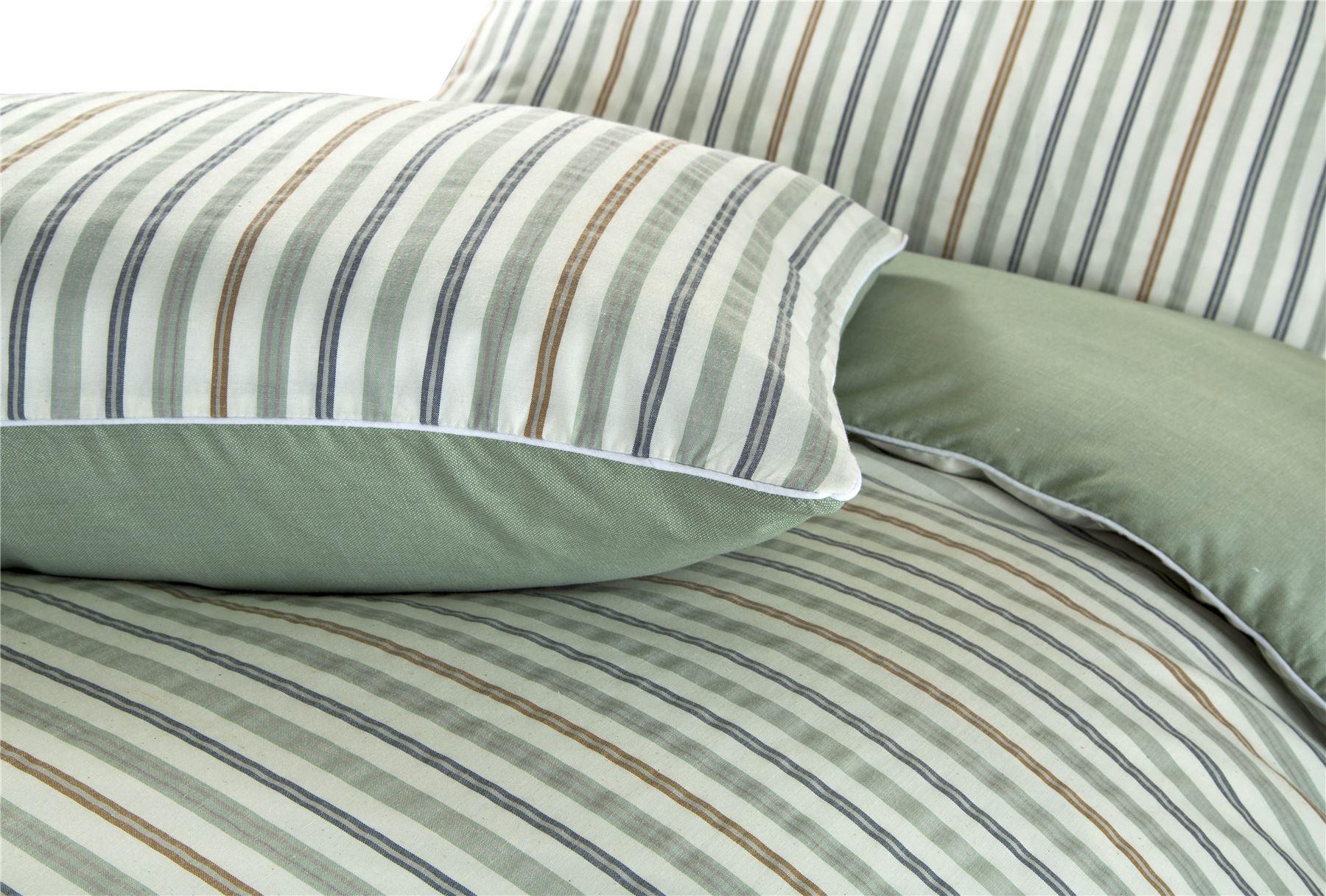 Hilo-de-algodon-de-lujo-Rico-Suave-Chambray-tenido-de-Cubierta-de-edredon-a-rayas-de-tejido-a-rayas miniatura 36