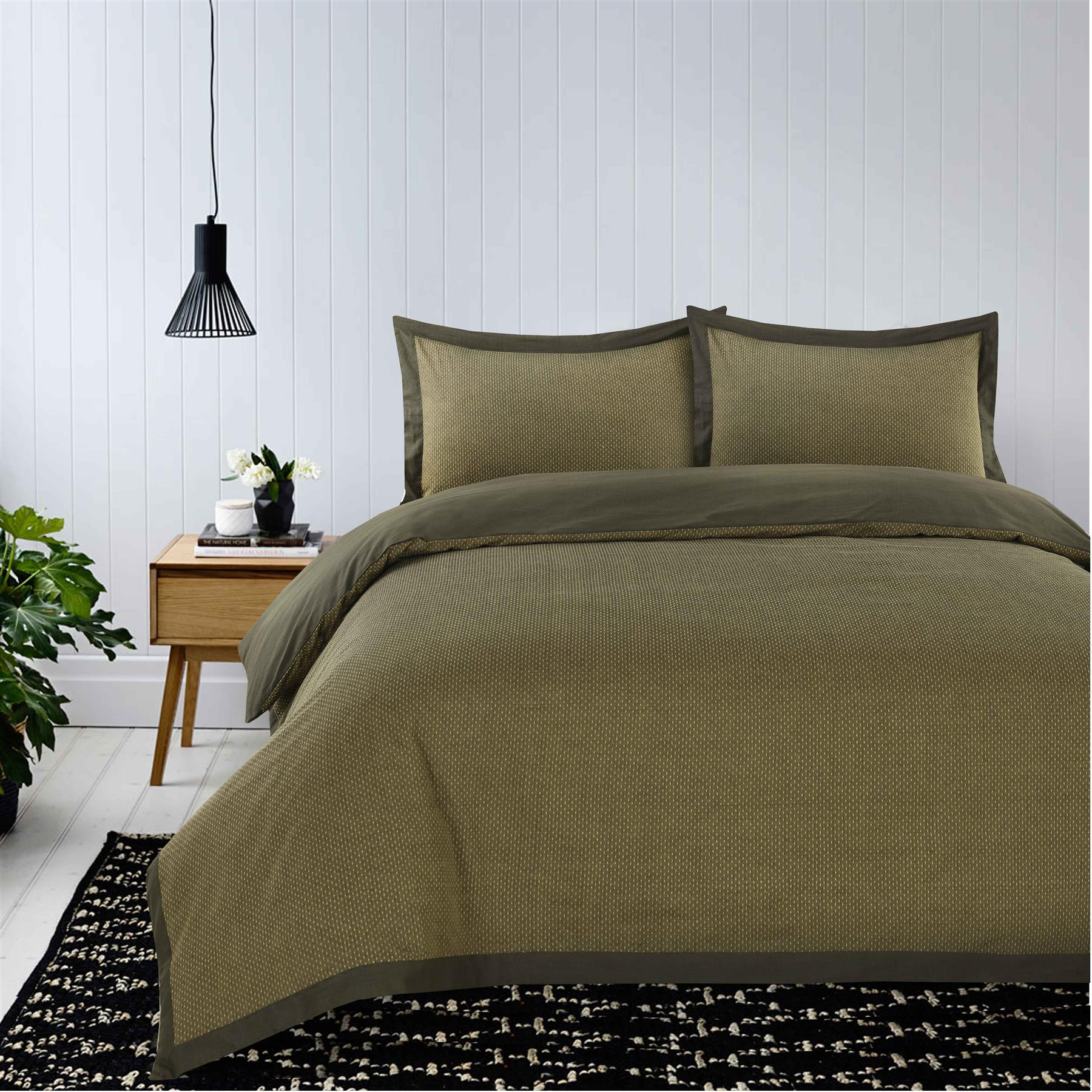 Luxury-Dobby-Dots-Dotted-100-Cotton-Duvet-Cover-Bedding-Set-Single-Double-King thumbnail 9