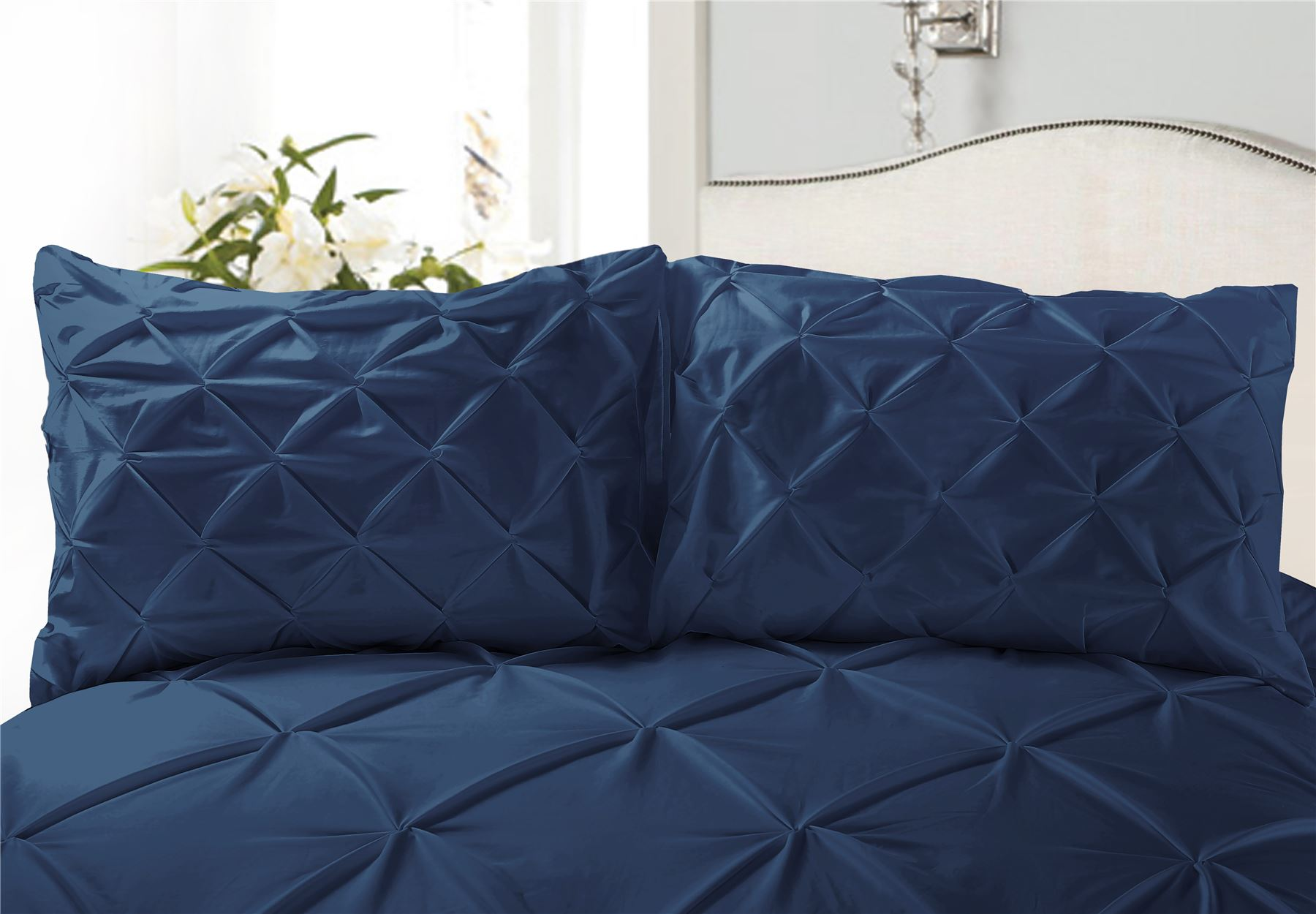 Luxury-Pure-100-Cotton-200-Thread-Pinch-Pleat-Pintuck-Puckering-Duvet-Cover-Set thumbnail 19