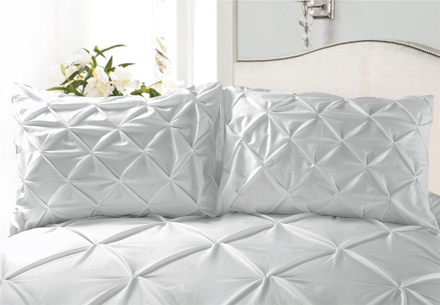 Luxury-Pure-100-Cotton-200-Thread-Pinch-Pleat-Pintuck-Puckering-Duvet-Cover-Set thumbnail 44
