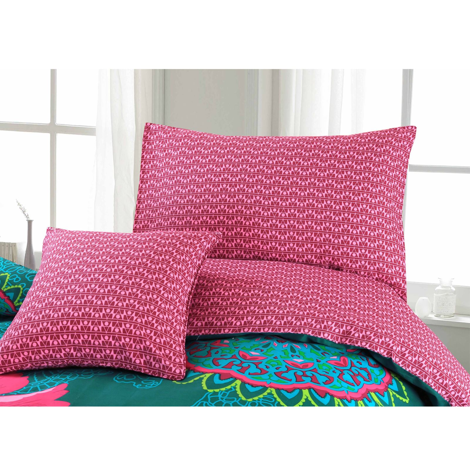Ropa-de-cama-estampado-floral-bohemio-conjunto-de-edredon-de-funda-nordica-individual-Doble-King miniatura 11