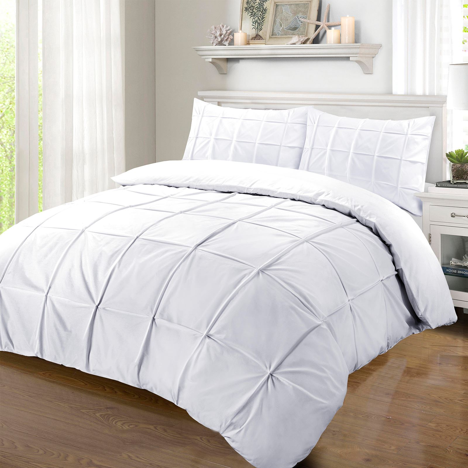 Luxury 100 Egyptian Cotton 200tc Pintuck Pleated Duvet Cover Bedding Set White Ebay