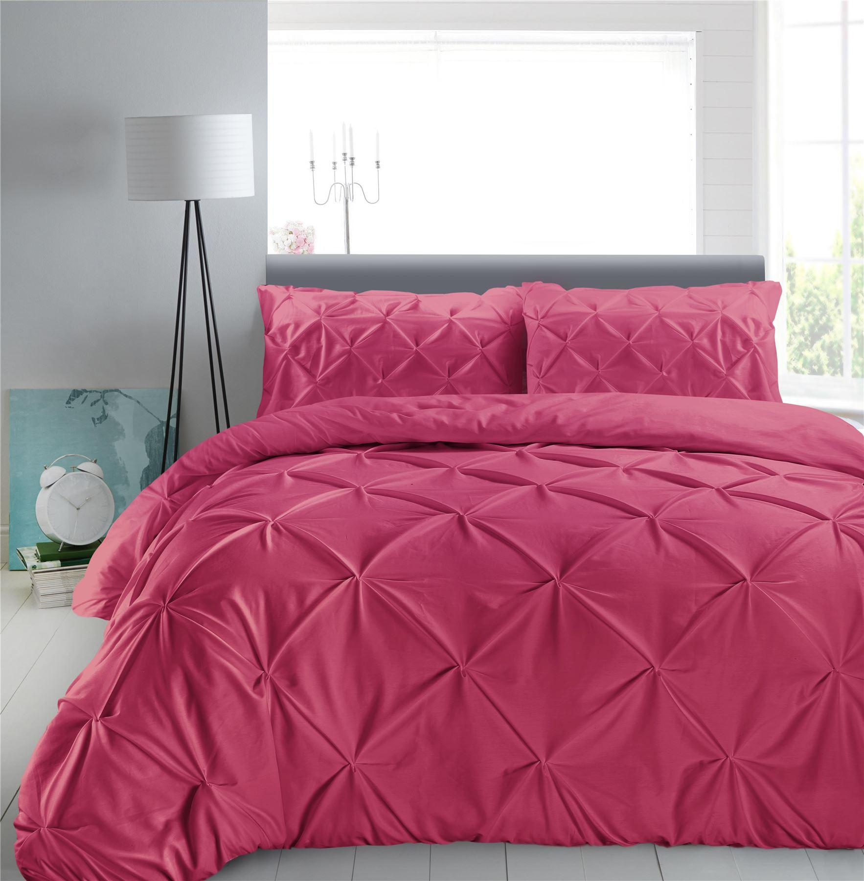 Luxury-Pure-100-Cotton-200-Thread-Pinch-Pleat-Pintuck-Puckering-Duvet-Cover-Set thumbnail 37