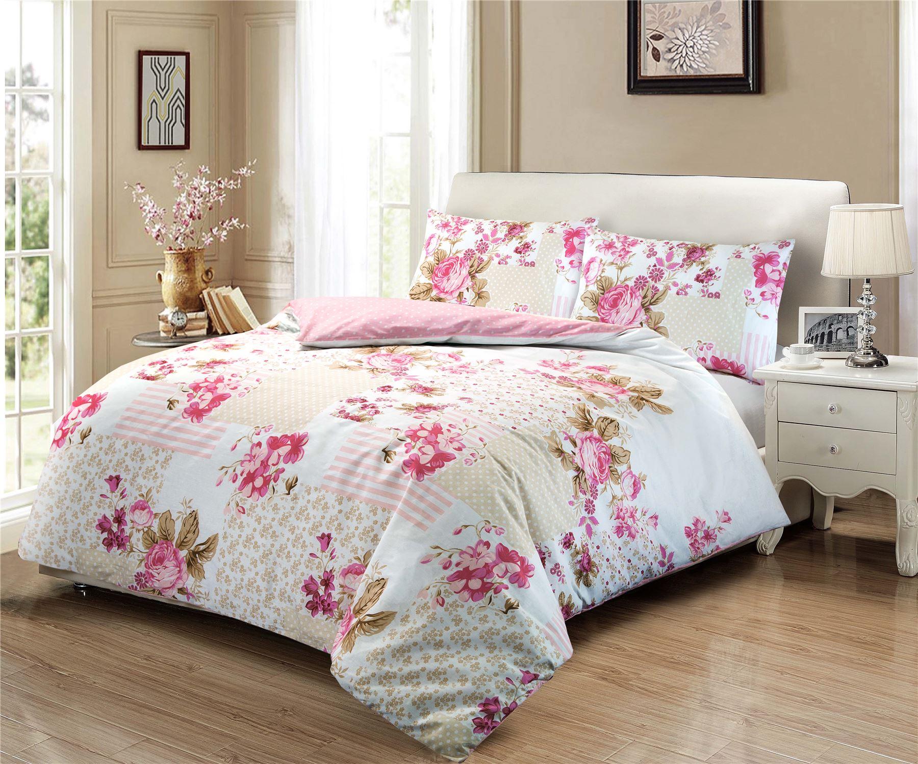 Easy Care Rose Floral 100 Cotton Multi Duvet Quilt Cover Bedding Set Pink Blue Ebay