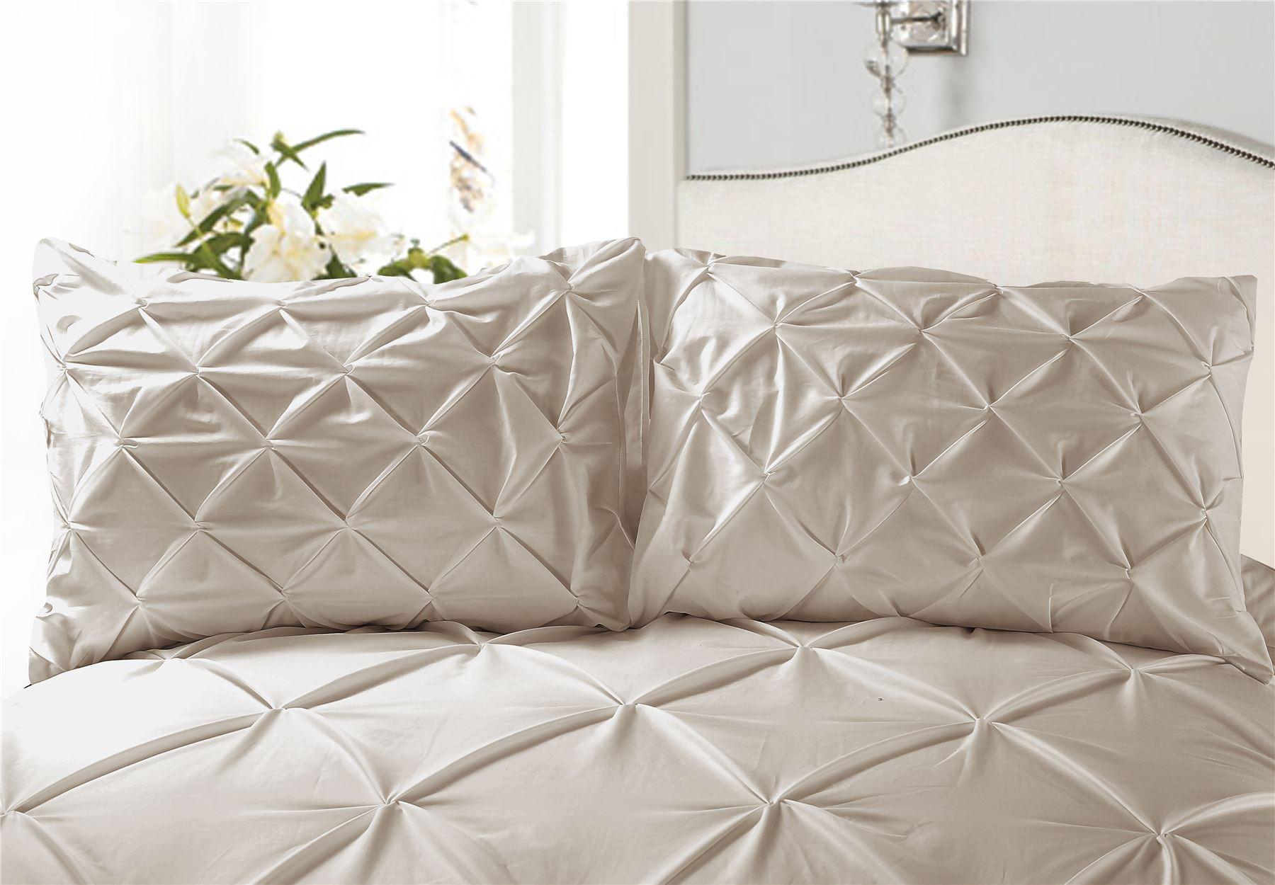 Luxury-Pure-100-Cotton-200-Thread-Pinch-Pleat-Pintuck-Puckering-Duvet-Cover-Set thumbnail 54