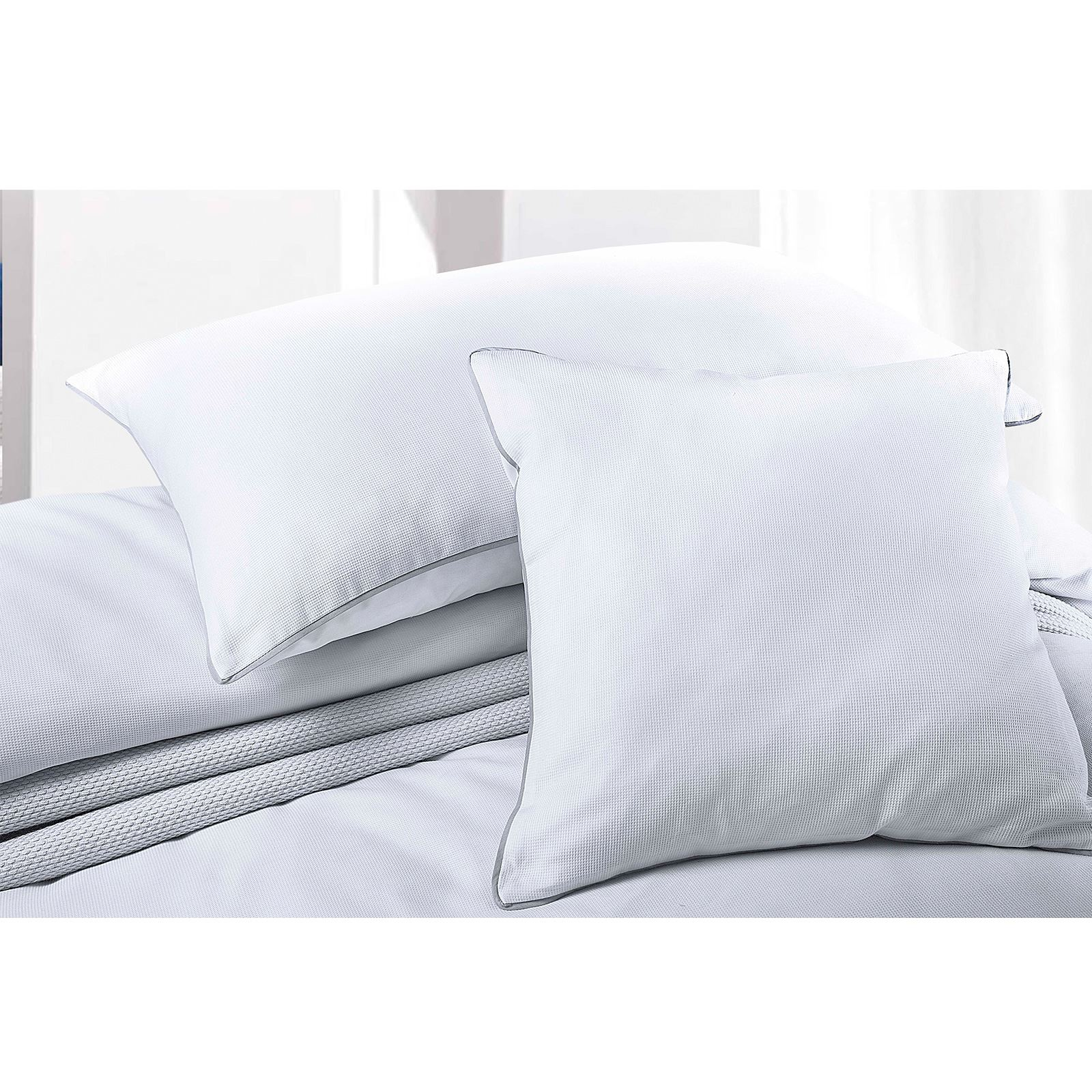 Luxury-200-Thread-Woven-Waffle-Checked-100-Cotton-Quilt-Duvet-Cover-Set-White thumbnail 6