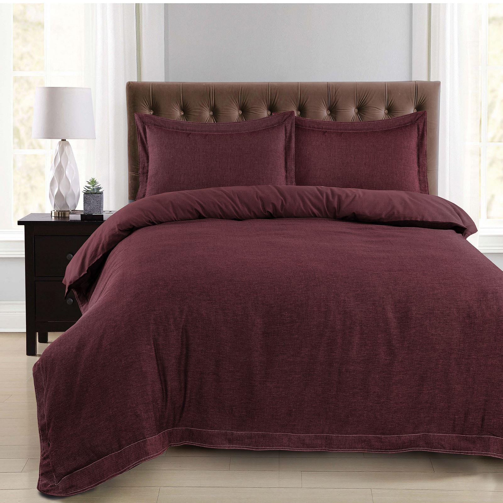 Luxury-Herringbone-Woven-100-Cotton-Duvet-Cover-Bedding-Set-Single-Double-King thumbnail 7