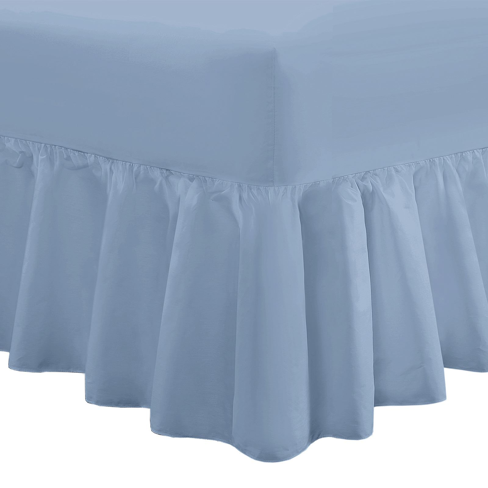 AmigoZone Extra Deep 100/% Egyption Cotton 200 Thread CountFitted Valance Sheet Pleated 4FT Small Double, Royal Blue