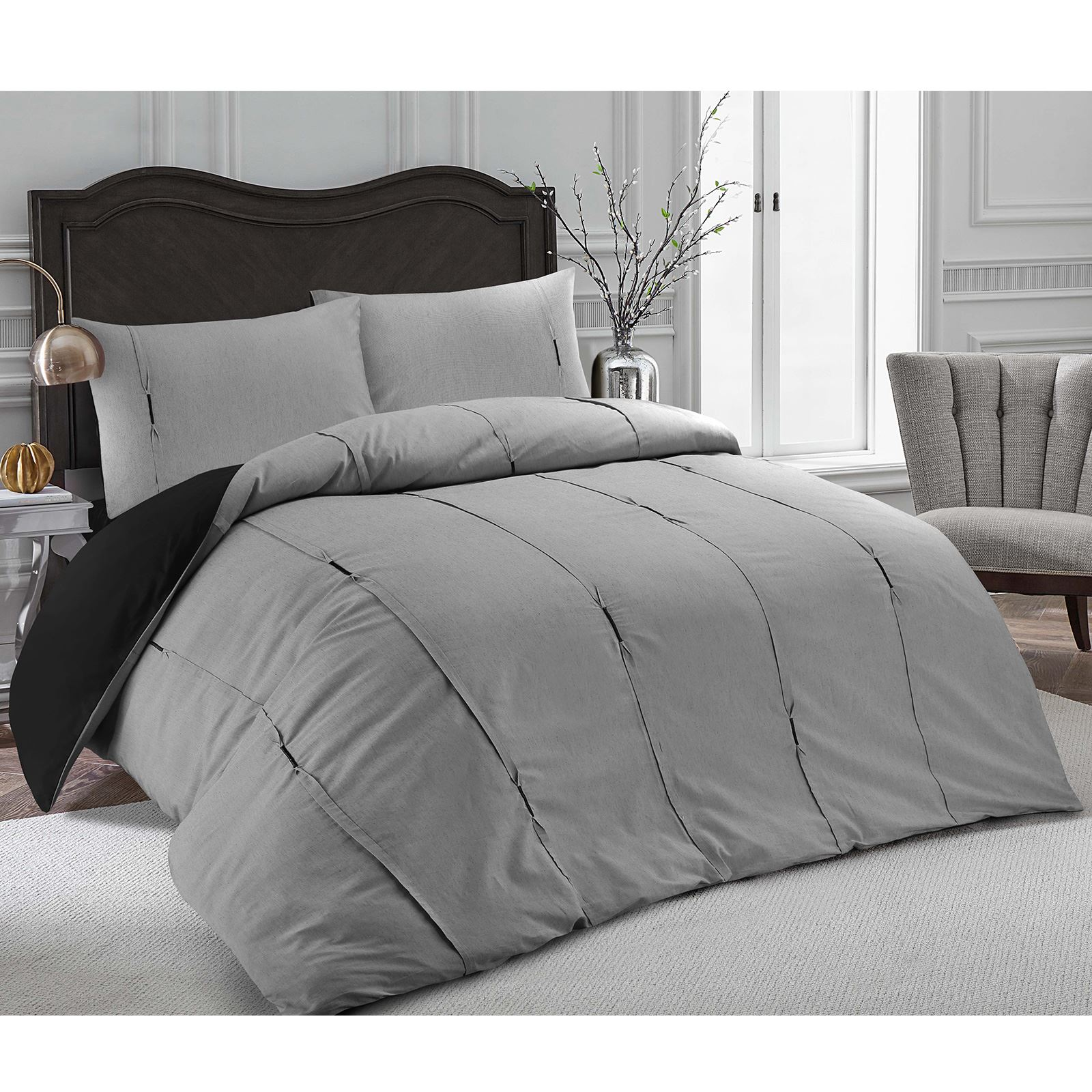 Luxury-Embellished-Duvet-Cover-Set-Single-Double-Super-King-Size-Bedding-Grey thumbnail 16
