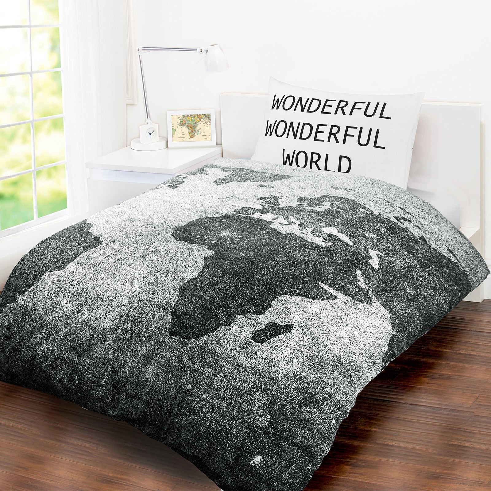 Wonderful world map grey white single bed quilt duvet cover set wonderful world map grey white single bed quilt duvet cover set gumiabroncs Choice Image