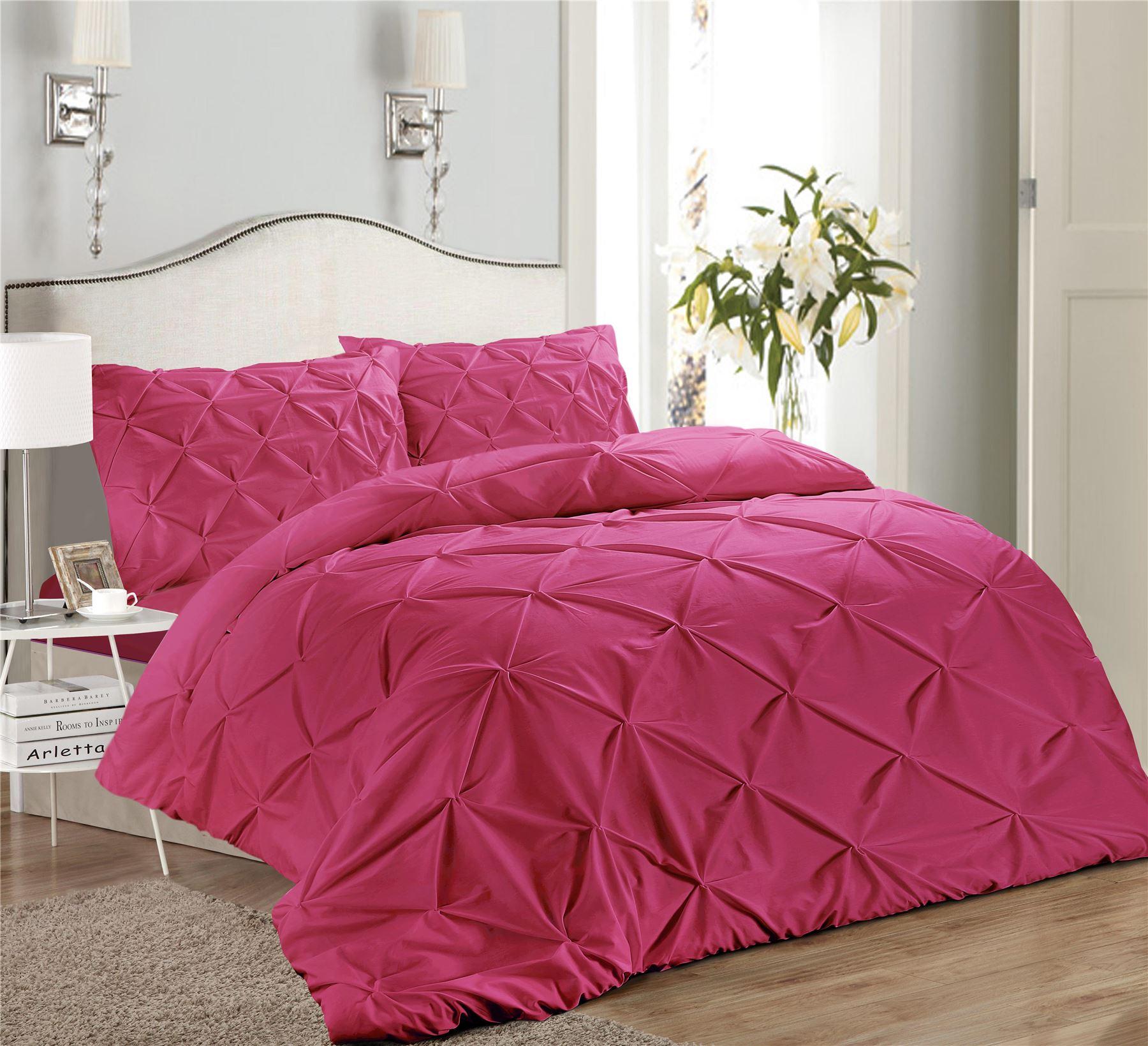 Luxury-Pure-100-Cotton-200-Thread-Pinch-Pleat-Pintuck-Puckering-Duvet-Cover-Set thumbnail 35